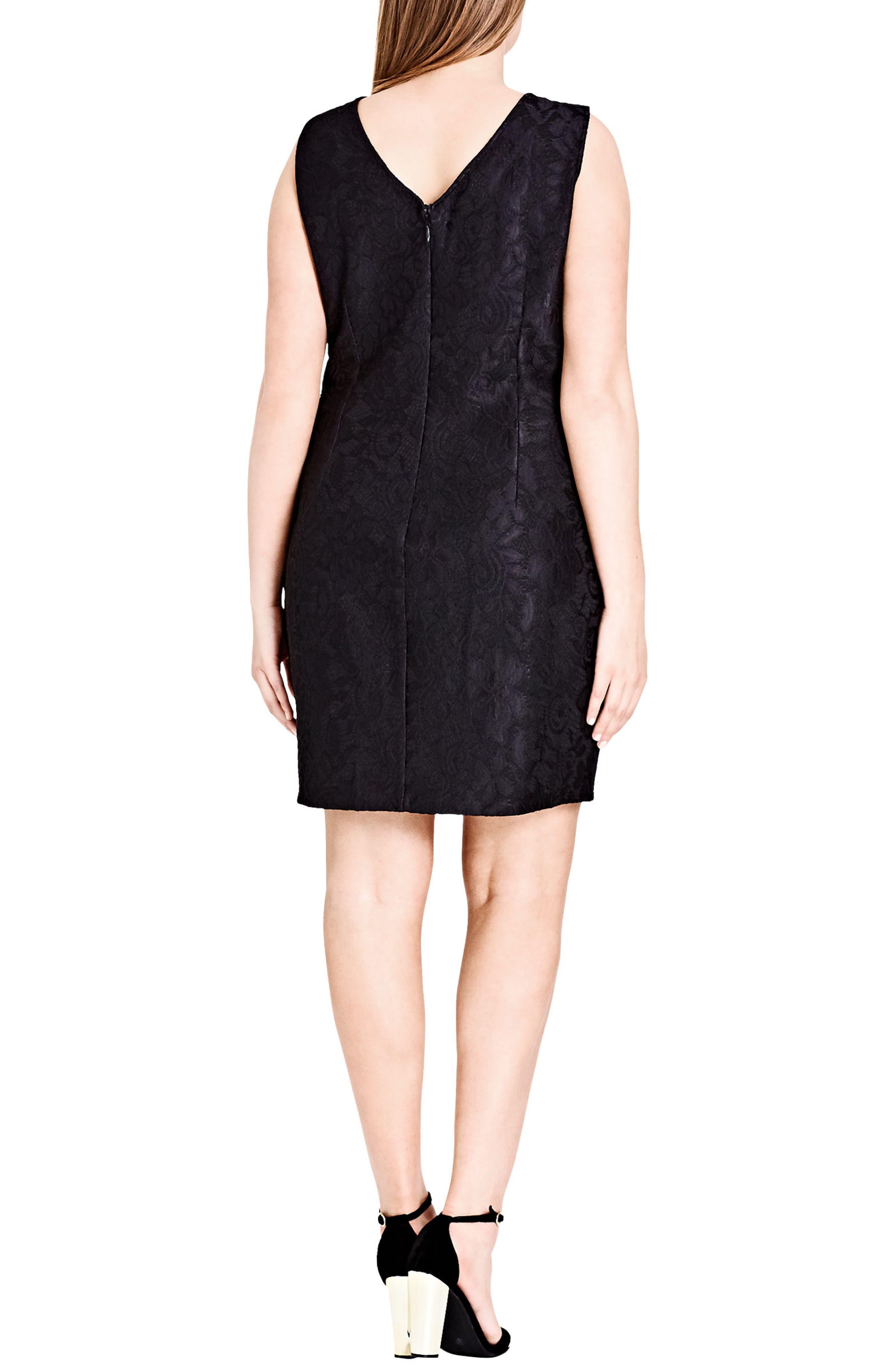 Luscious Lace & Faux Leather Dress,                             Alternate thumbnail 2, color,                             Black