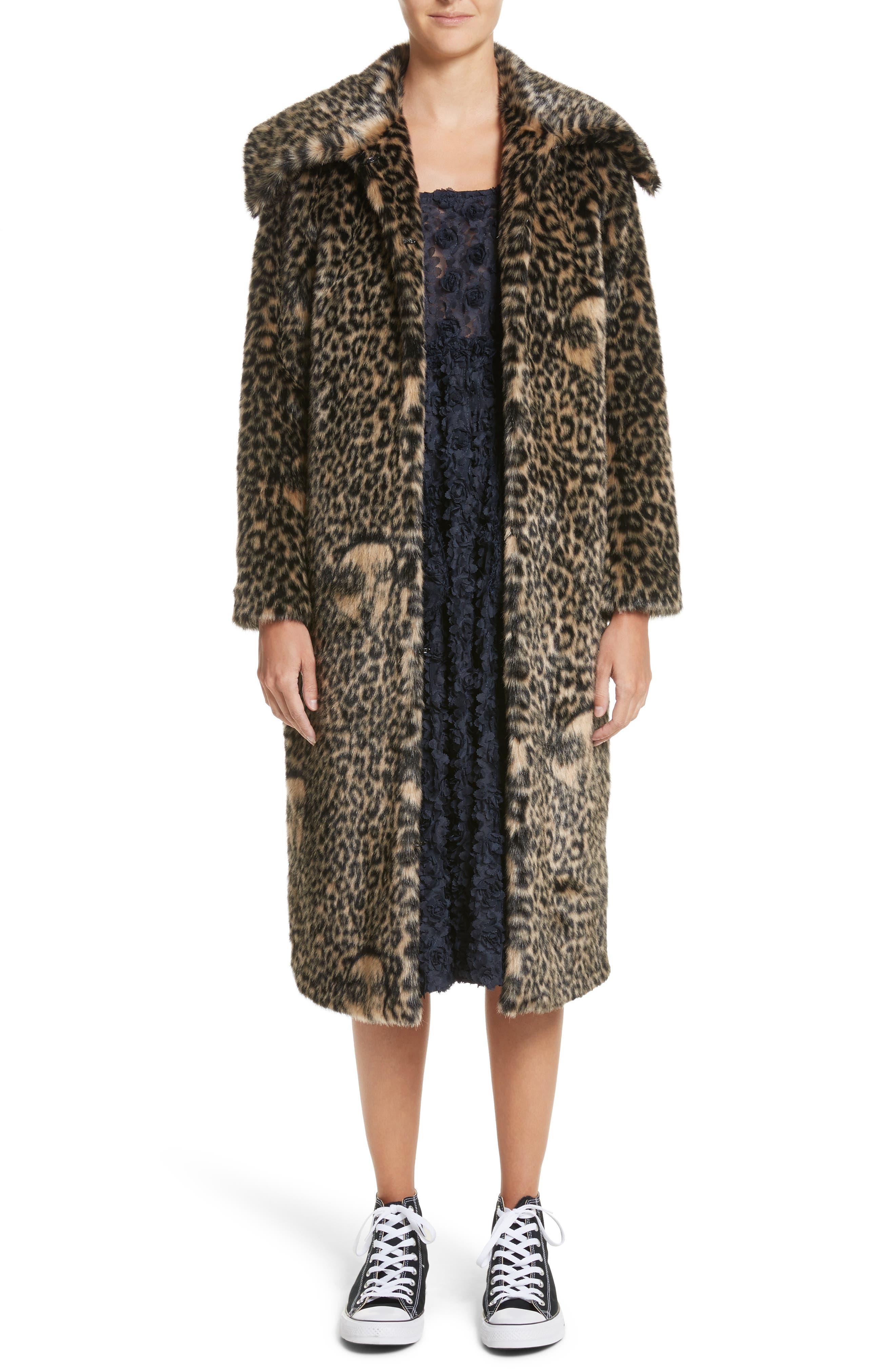 Ralph Faux Fur Coat,                         Main,                         color, Blonde/ Black Leopard