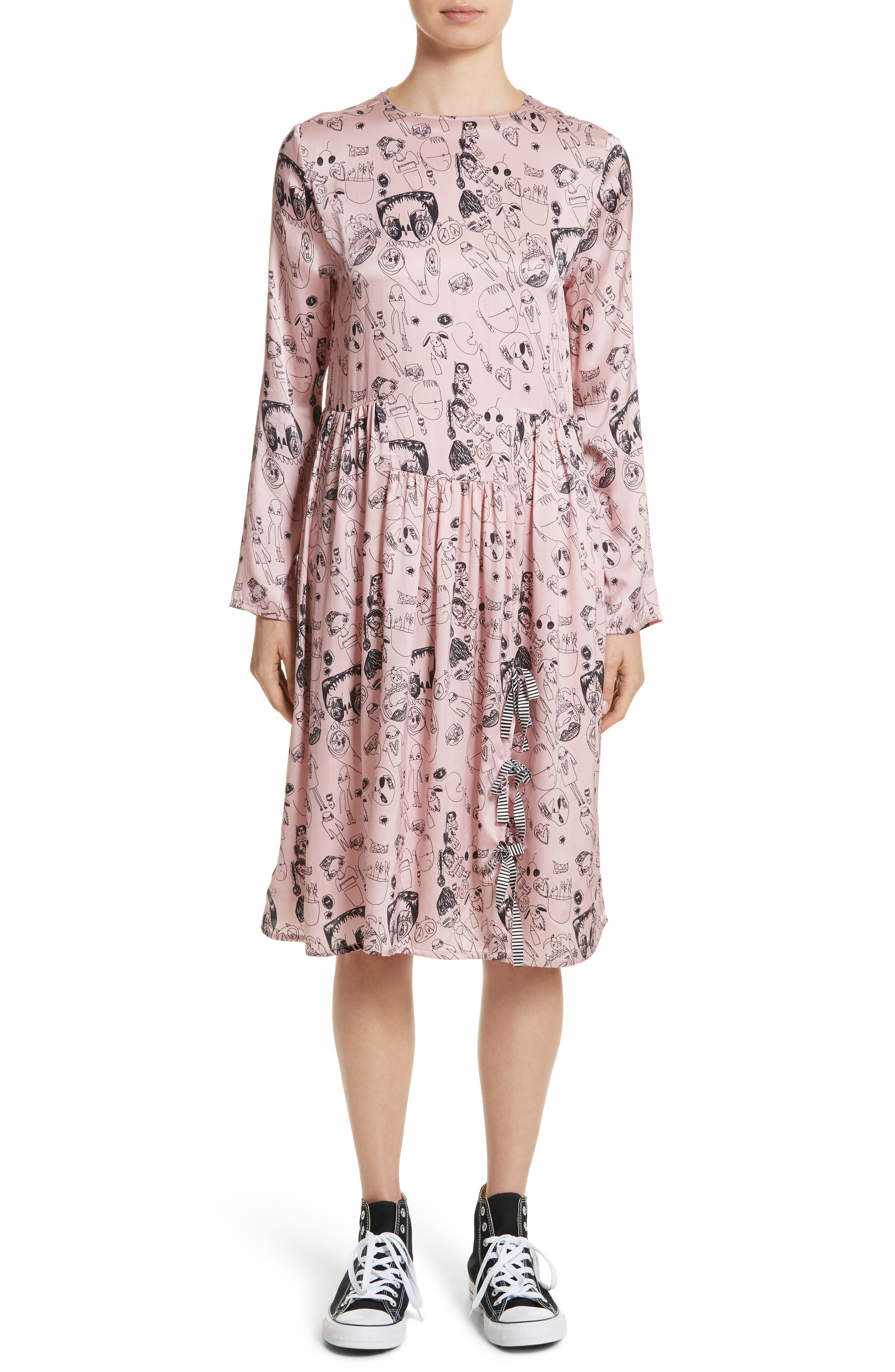 Heather Print Silk Dress,                         Main,                         color, Rosette / Black