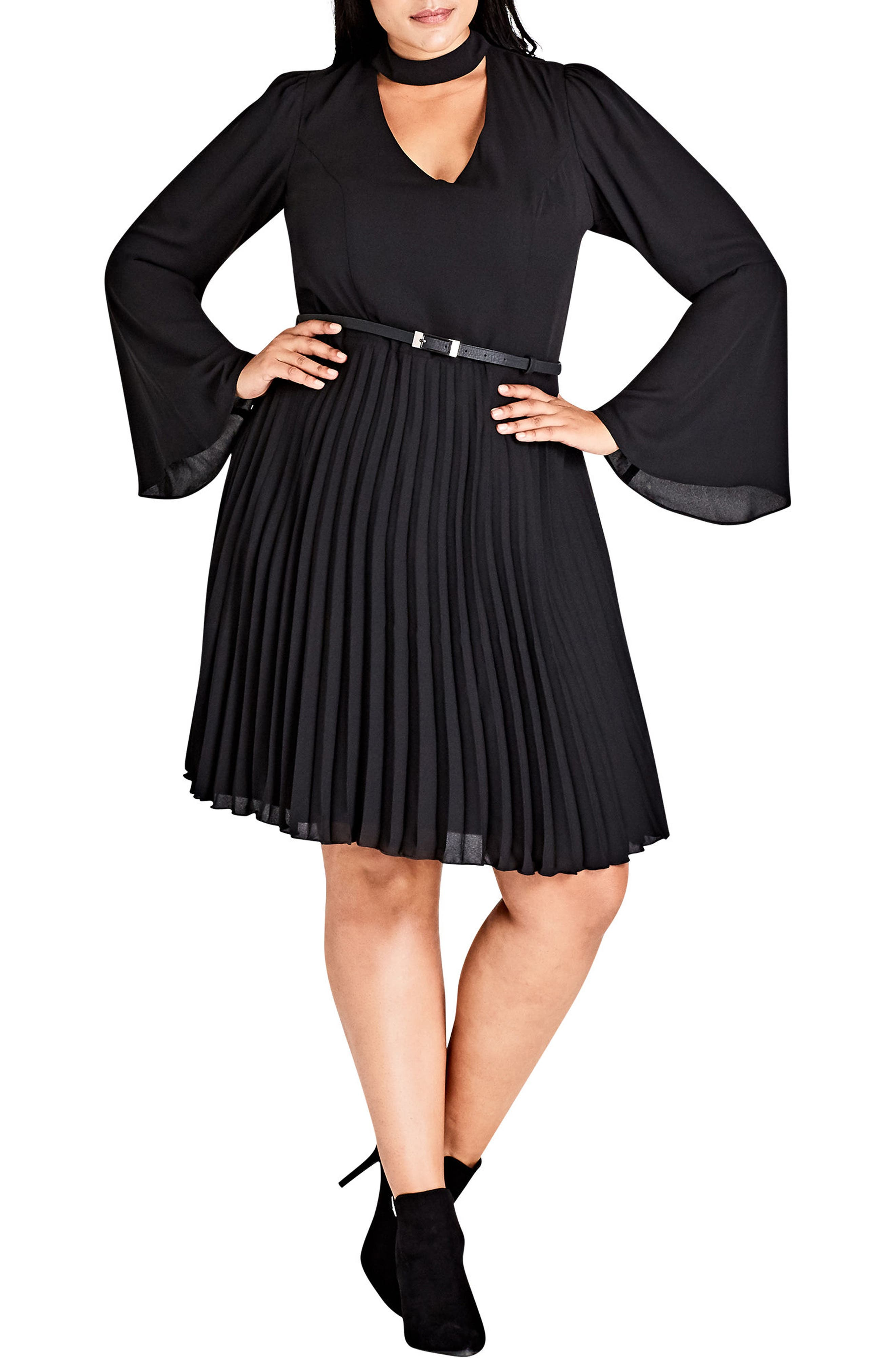 Main Image - City Chic Praise Me Bell Sleeve Choker Neck Dress (Plus Size)