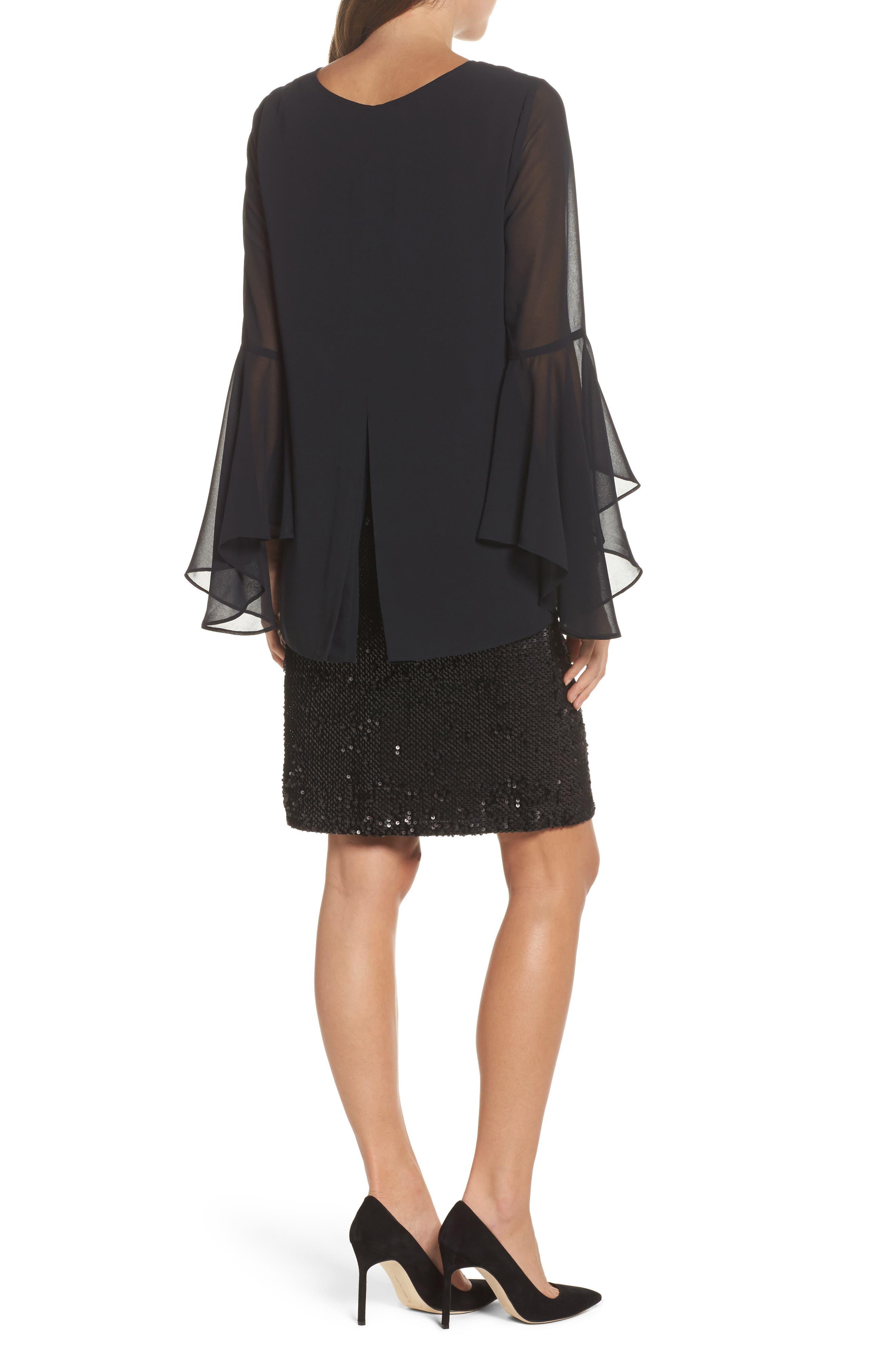 Sequin Chiffon Dress,                             Alternate thumbnail 2, color,                             Black Onyx