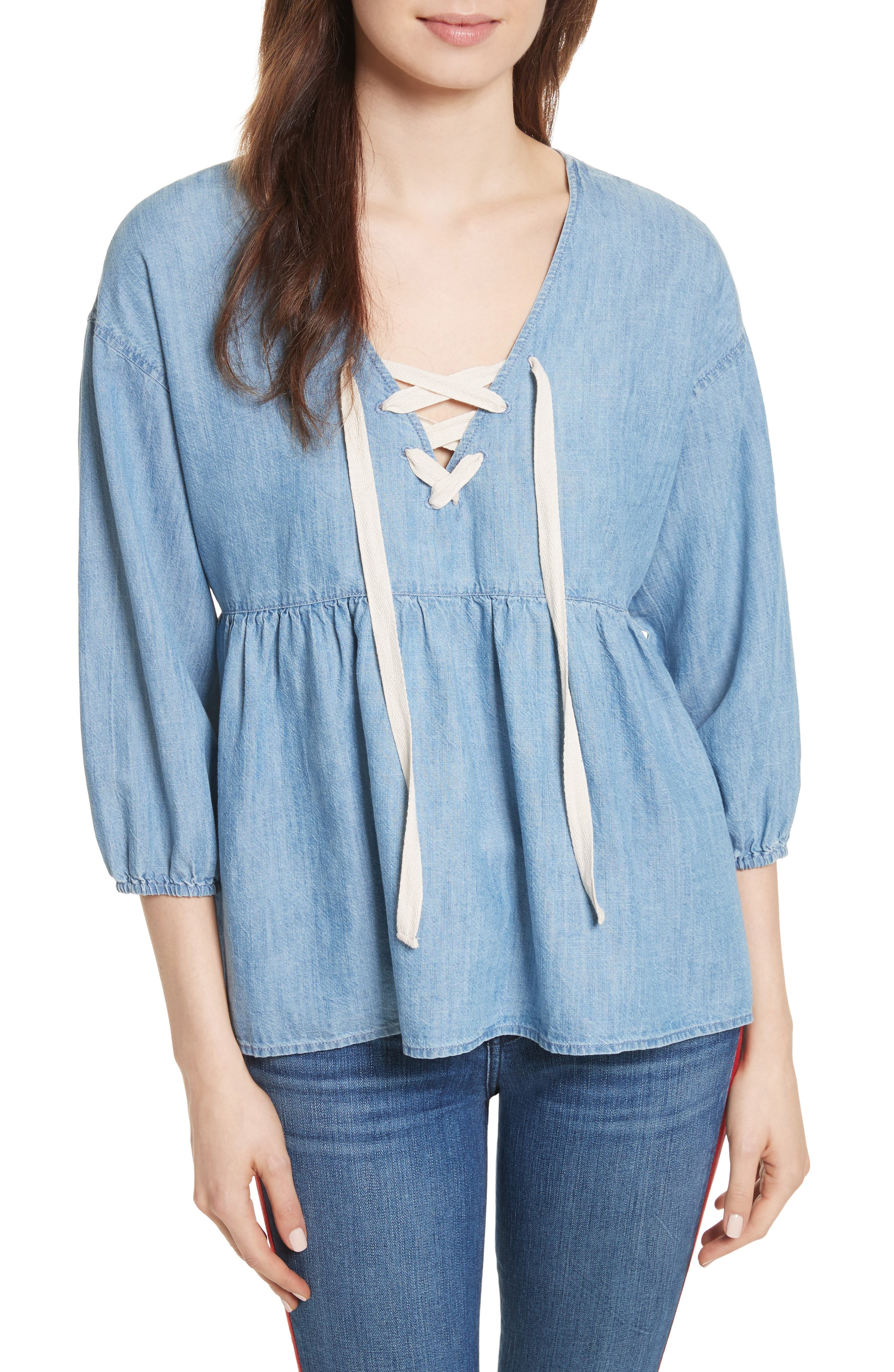 Bealette Lace-Up Chambray Top,                         Main,                         color, Vintage Chambray Wash