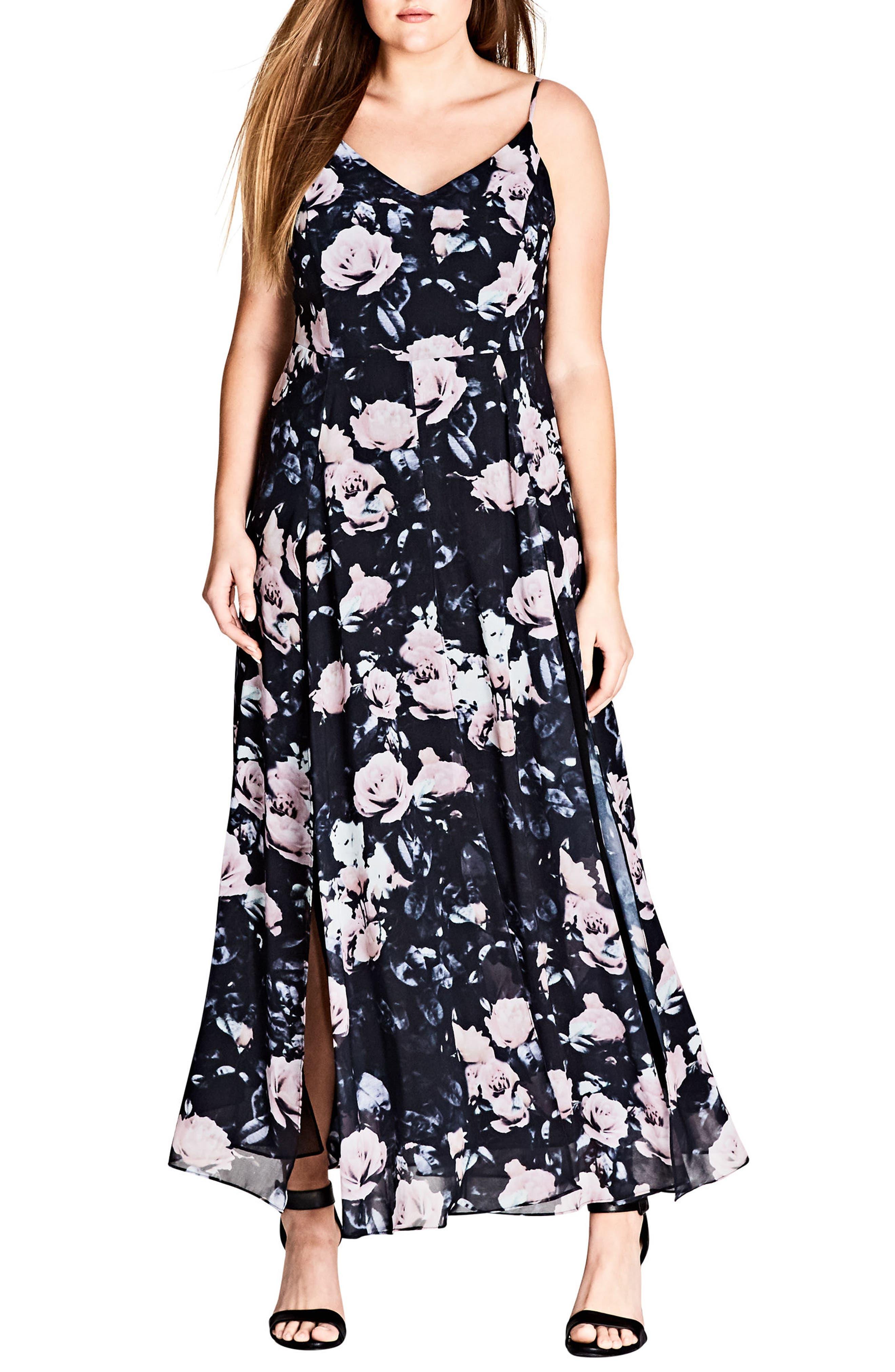 Rose Romance Maxi Dress,                             Alternate thumbnail 3, color,                             Rose Romance