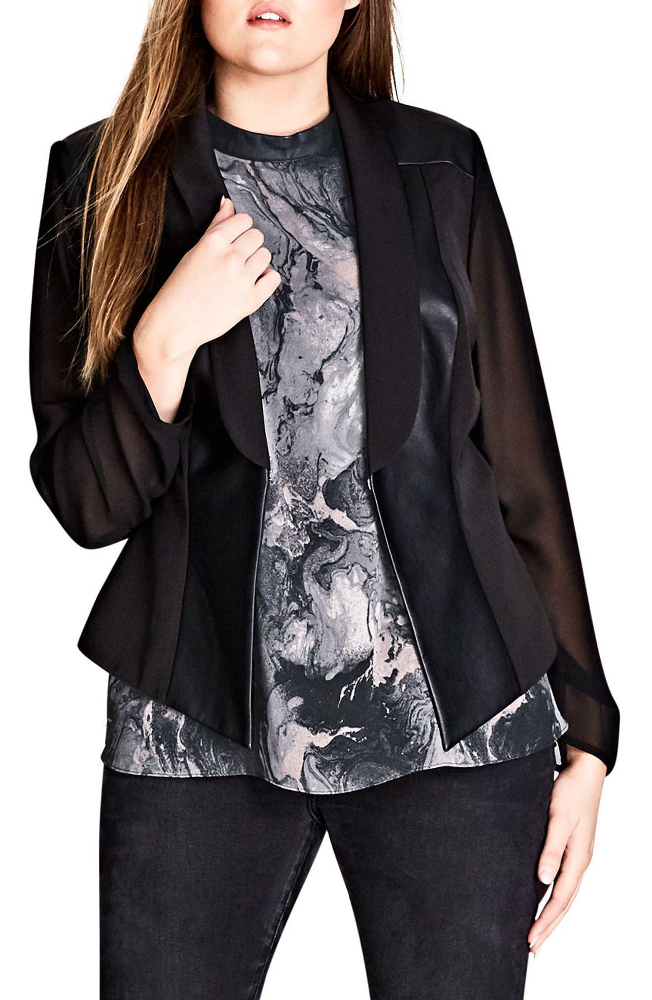 City Chic Sharp & Sheer Jacket (Plus Size)