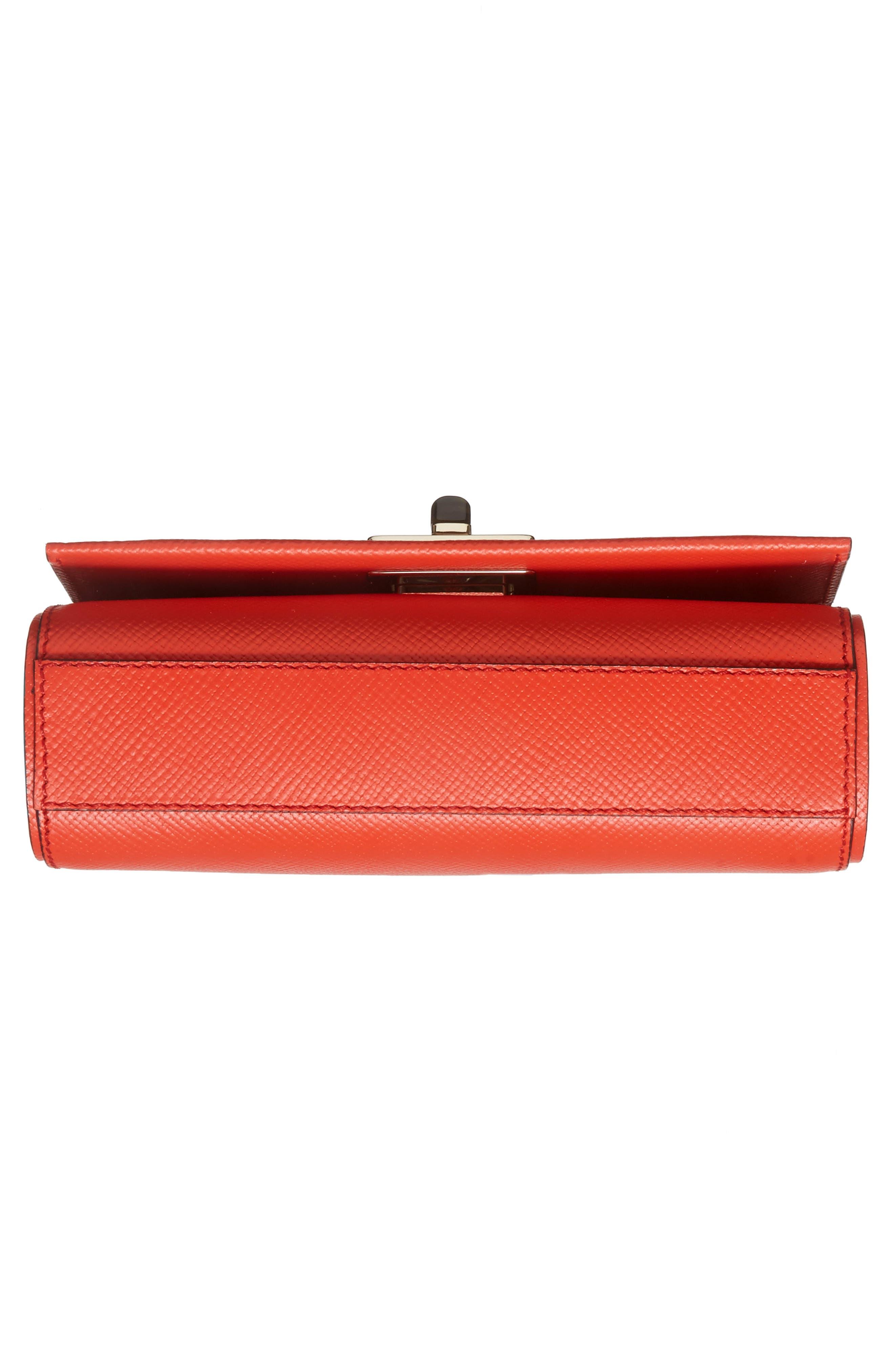 Mini Ilenea Leather Crossbody Bag,                             Alternate thumbnail 6, color,                             Coral Red
