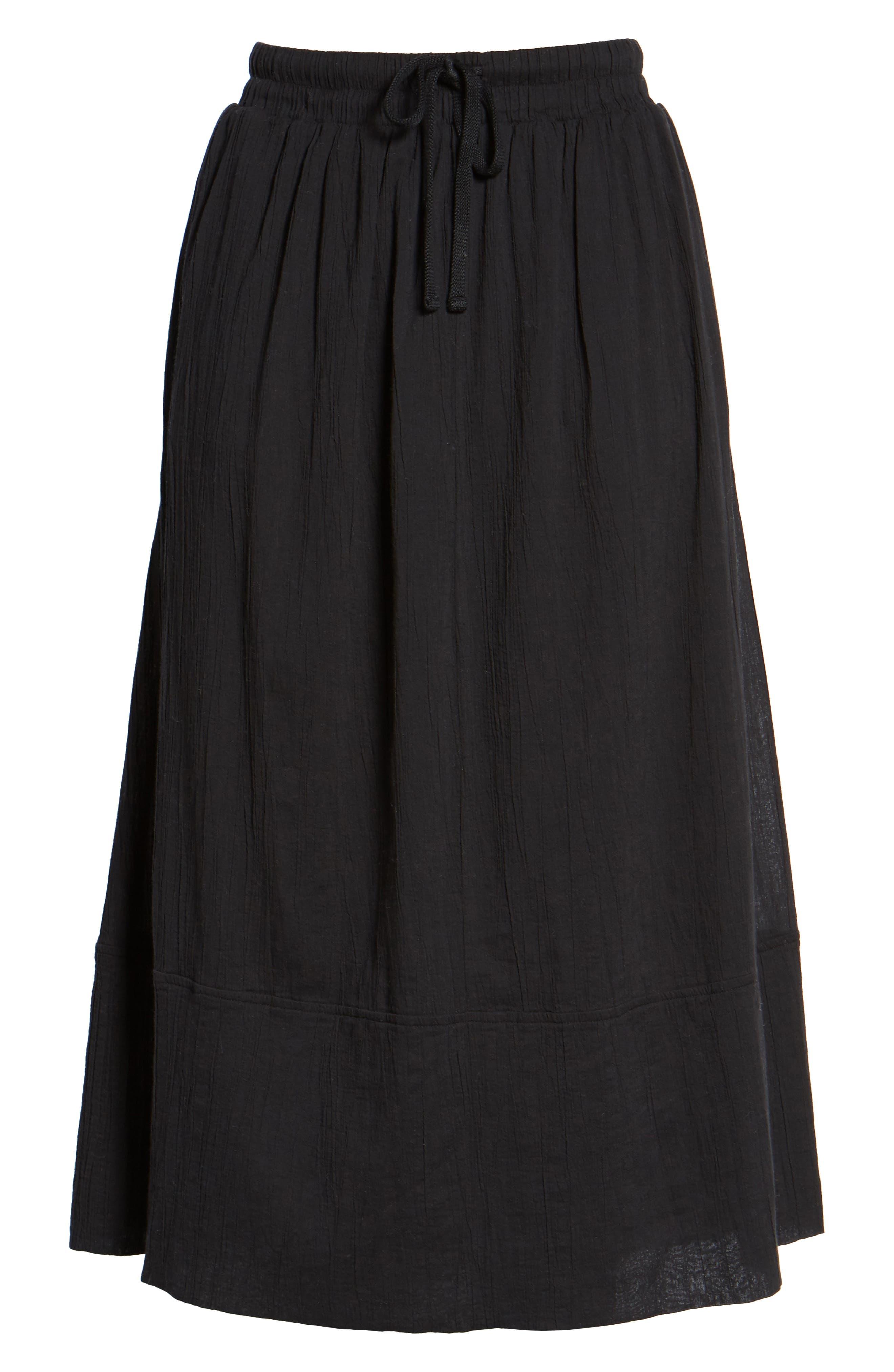 Gauze Midi Skirt,                             Alternate thumbnail 6, color,                             Black