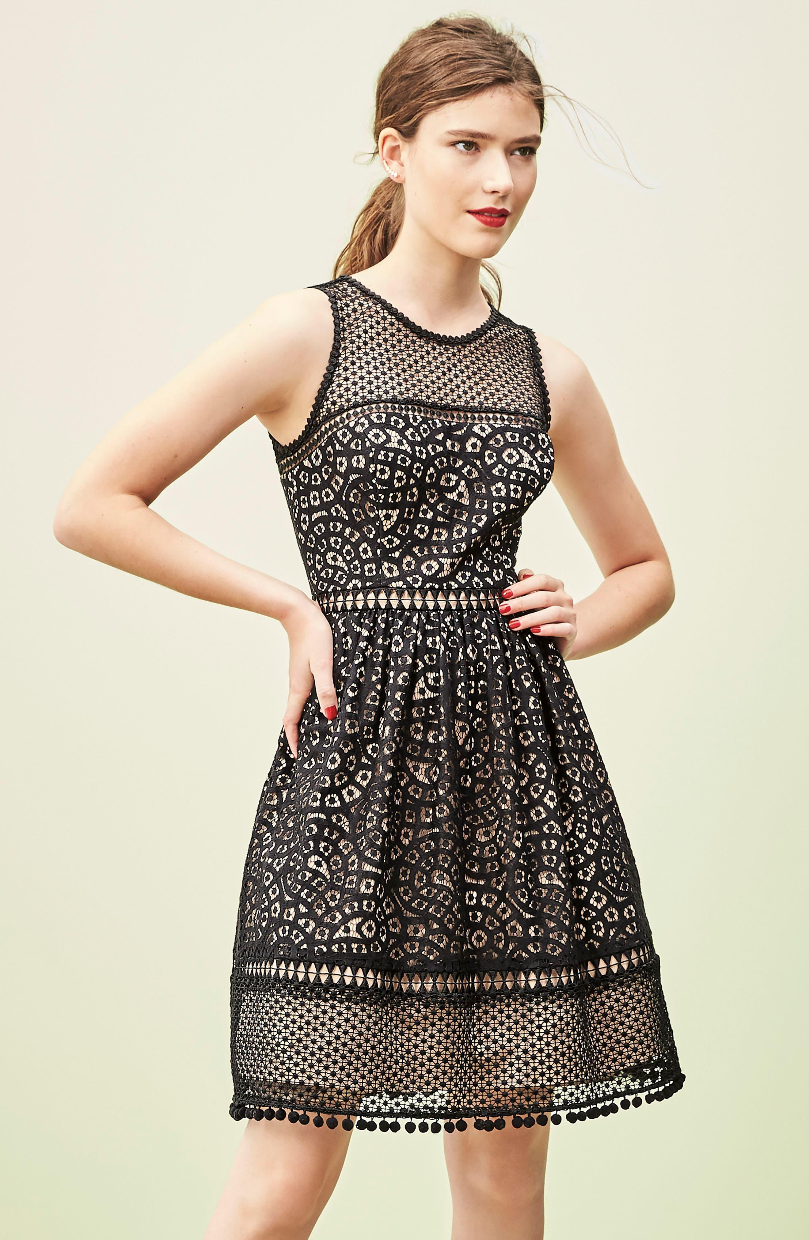 Sleeveless Lace Trim Fit & Flare Dress,                             Alternate thumbnail 2, color,
