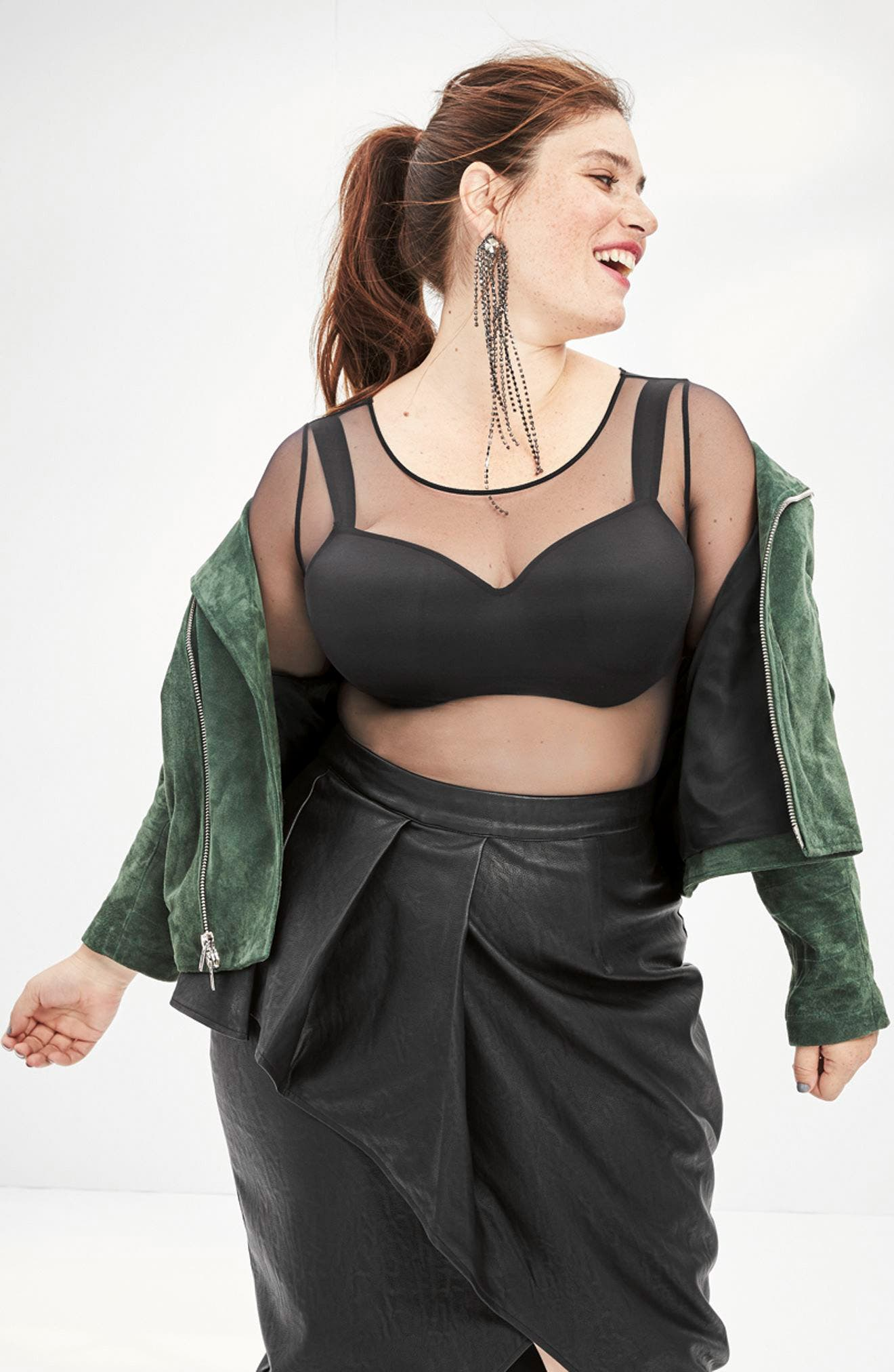 Alternate Image 3  - City Chic Faux Leather Skirt (Plus Size)