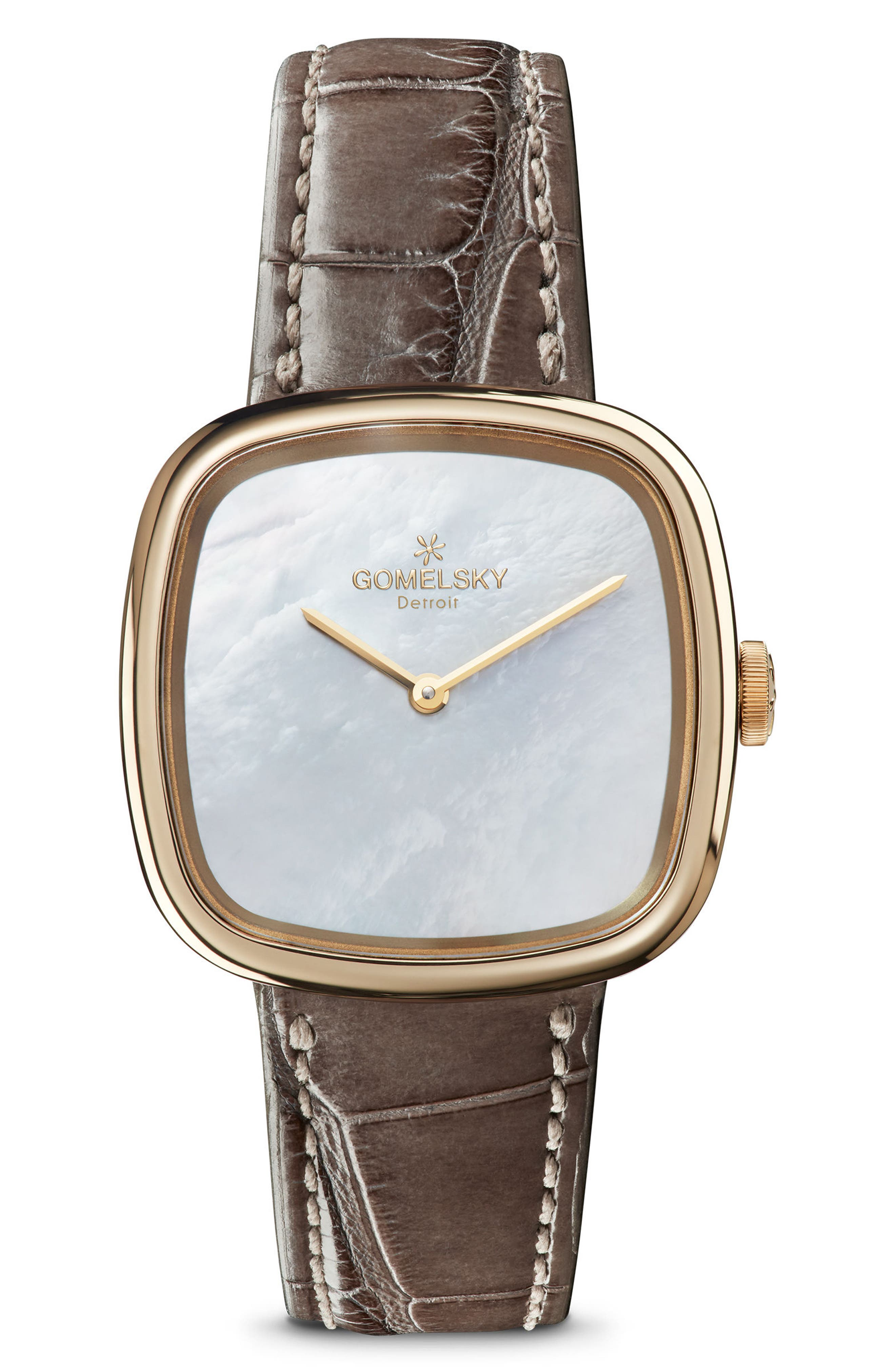 GOMELSKY THE EPPIE SNEED MINI ALLIGATOR STRAP WATCH, 32MM