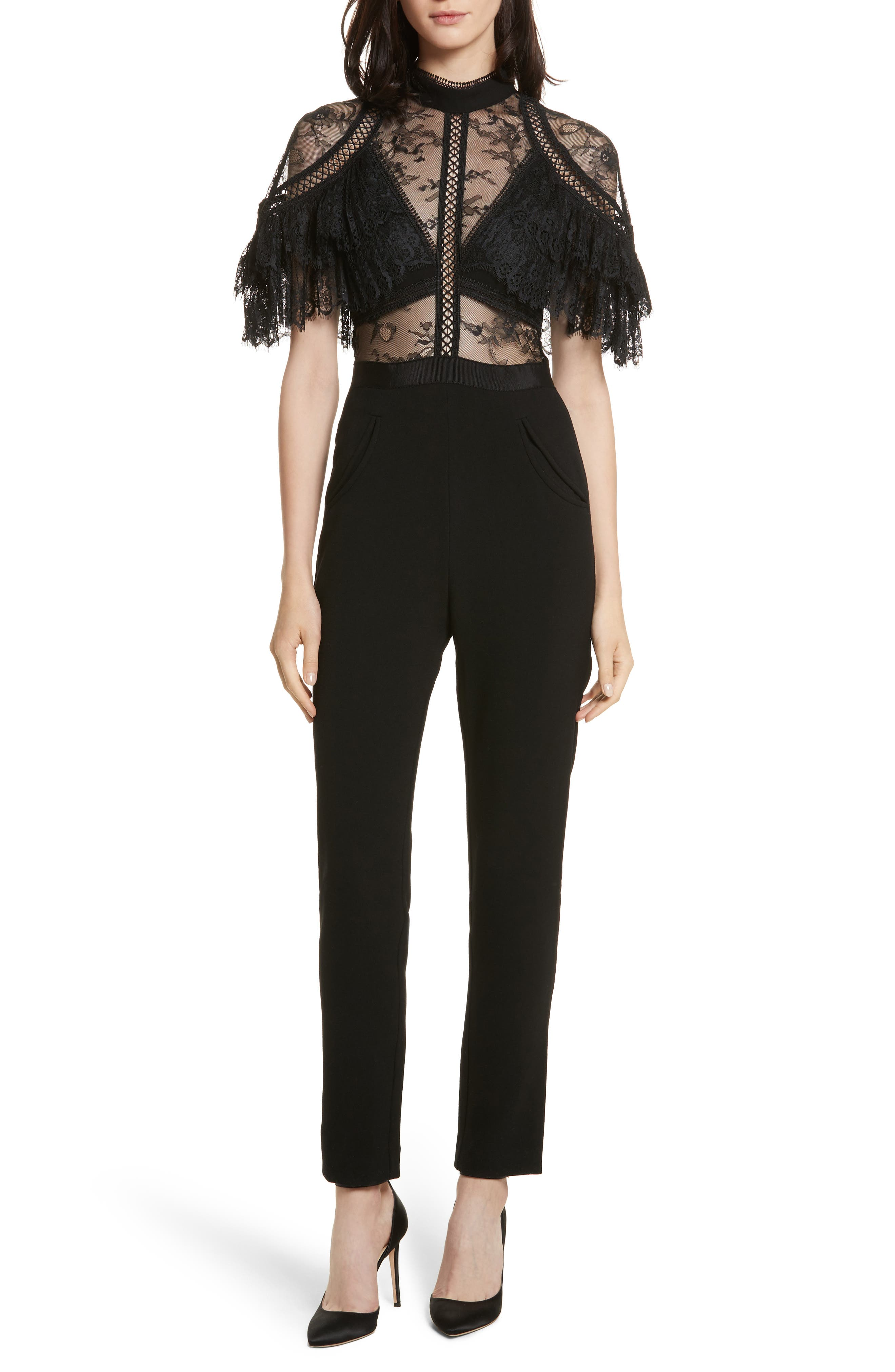 Self-Portrait Pleated Lace Bodice Jumpsuit