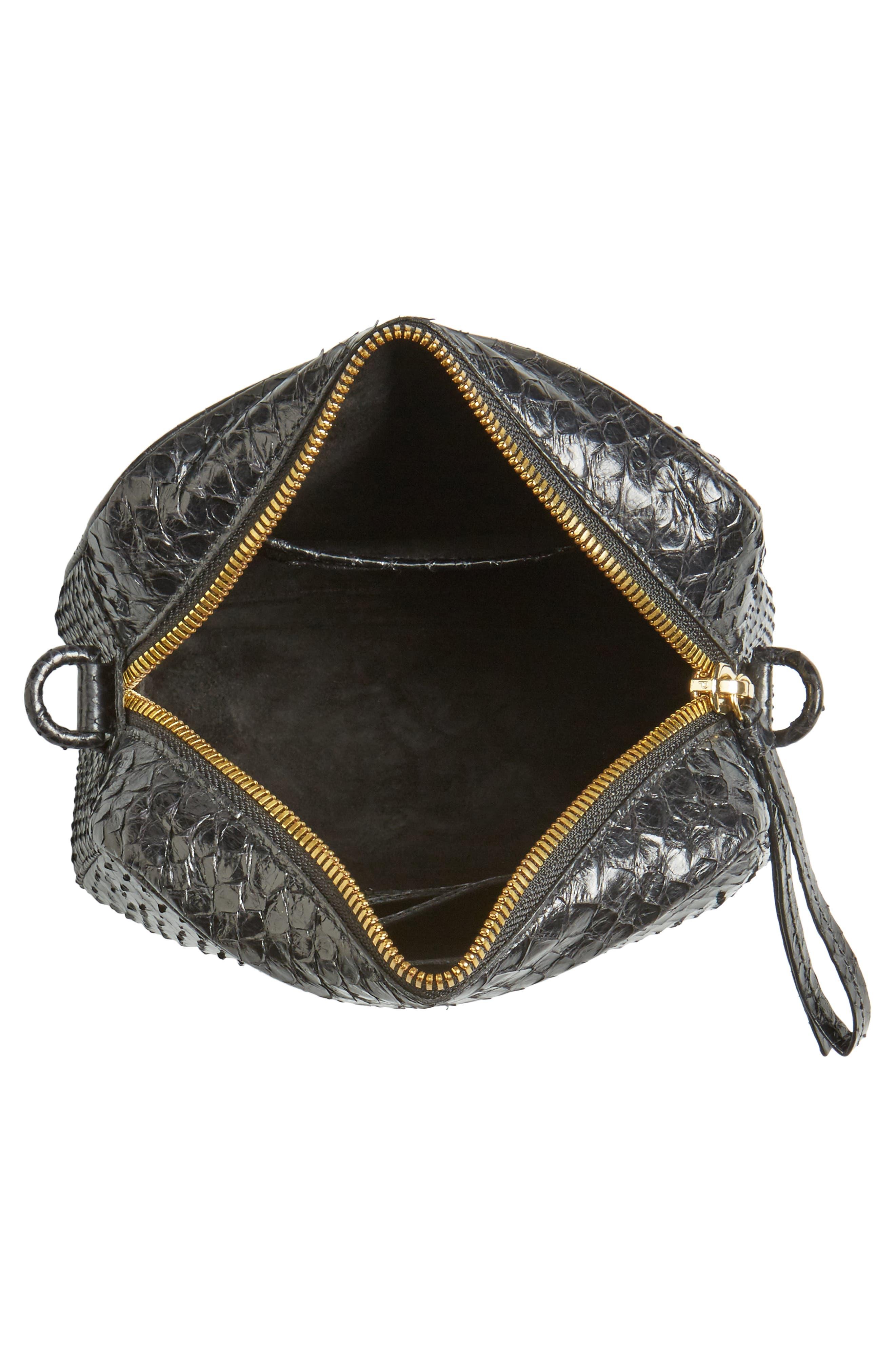 Genuine Python Shoulder Bag,                             Alternate thumbnail 4, color,                             Black