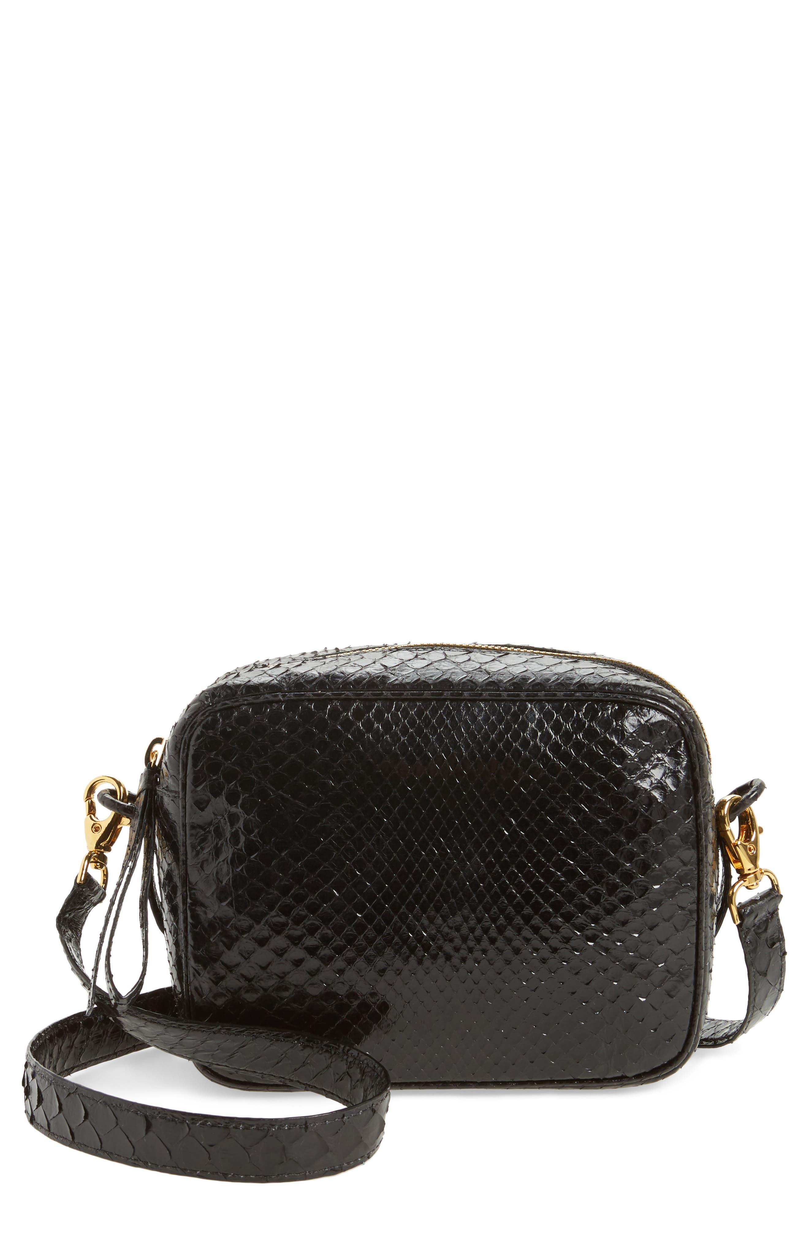 Genuine Python Shoulder Bag,                             Main thumbnail 1, color,                             Black