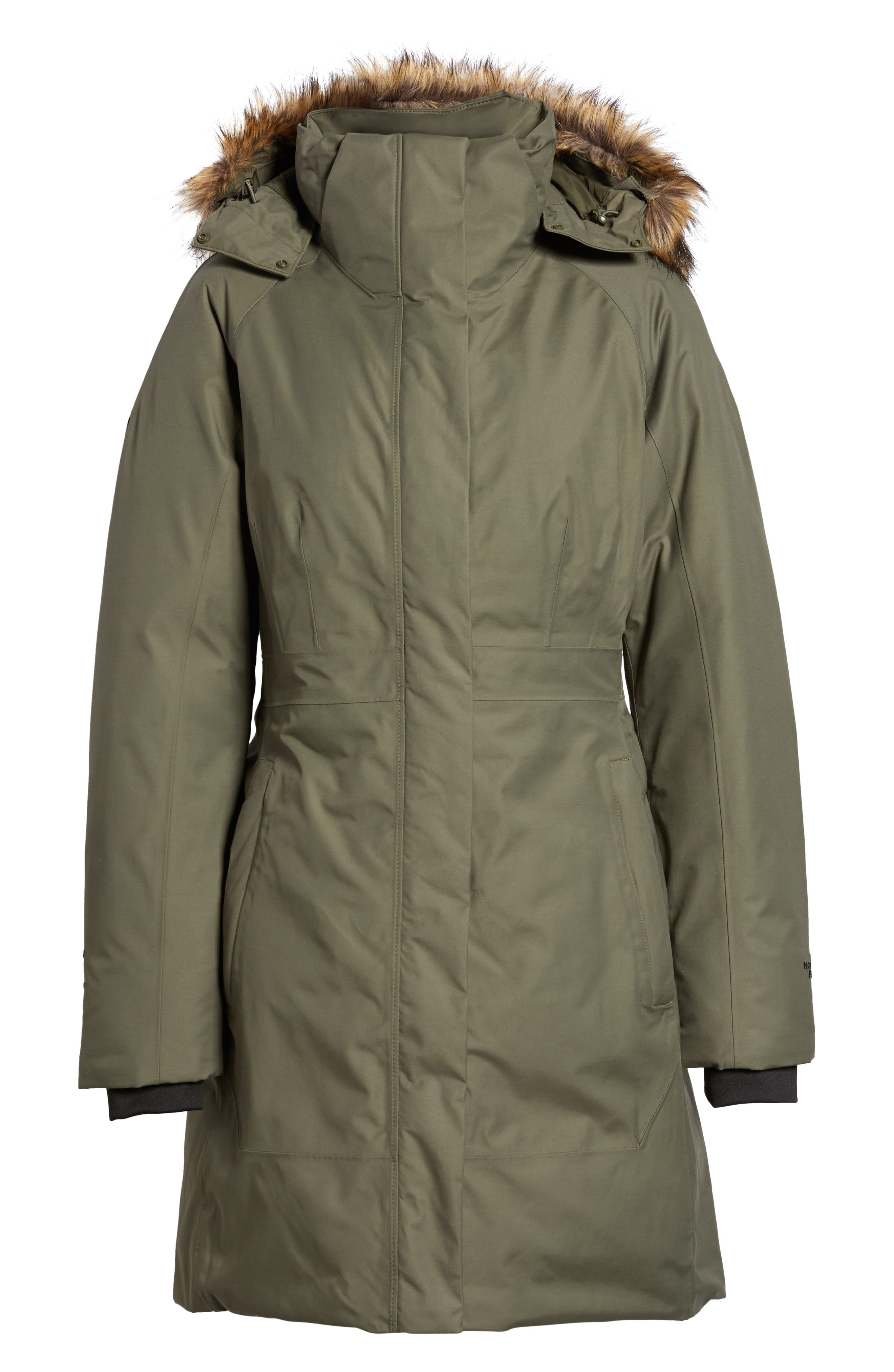 Arctic II Waterproof 550-Fill-Power Down Parka with Faux Fur Trim,                             Alternate thumbnail 7, color,                             New Taupe Green