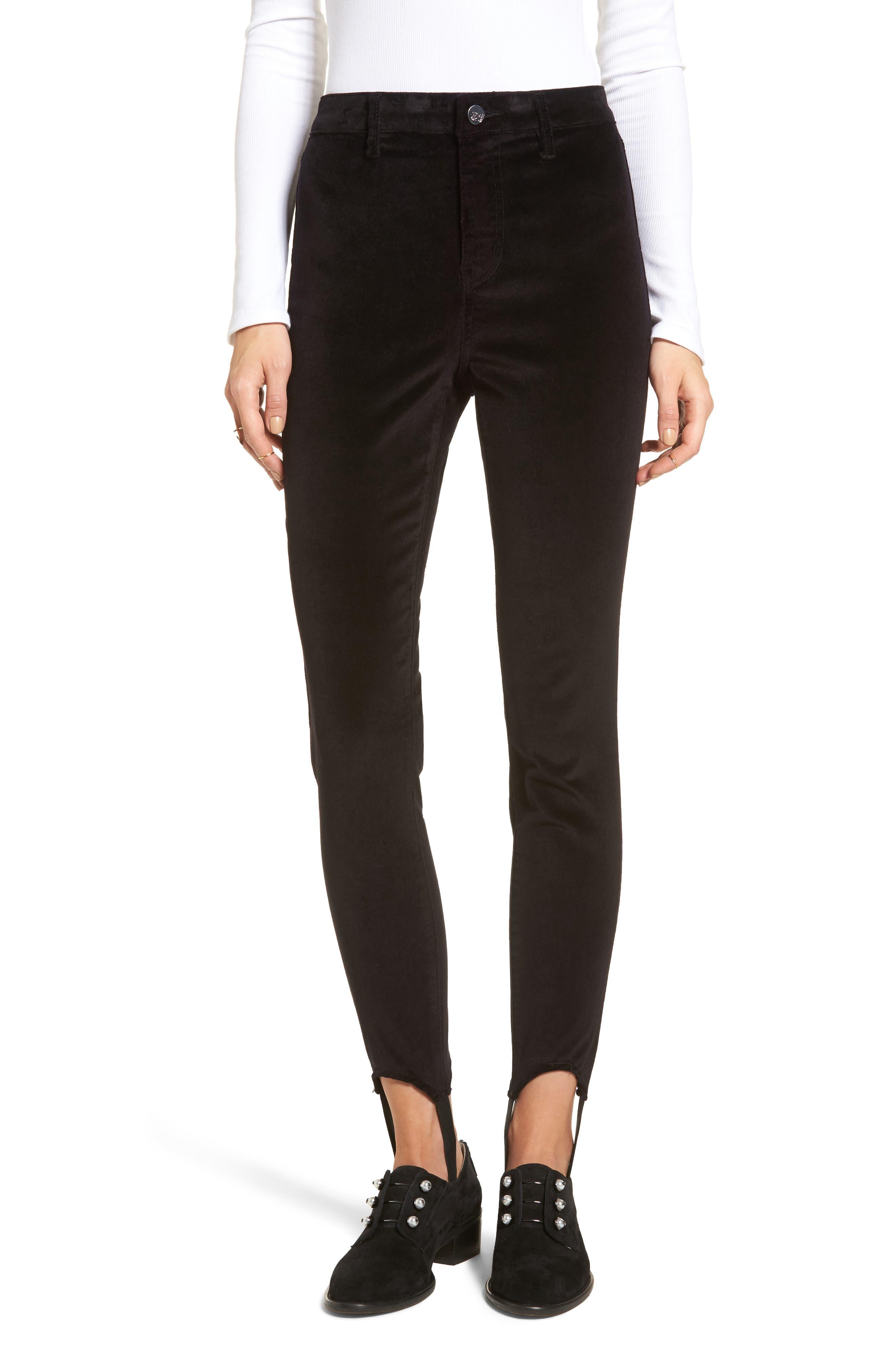 Stir It Up Velvet Stirrup Leggings,                         Main,                         color, Black