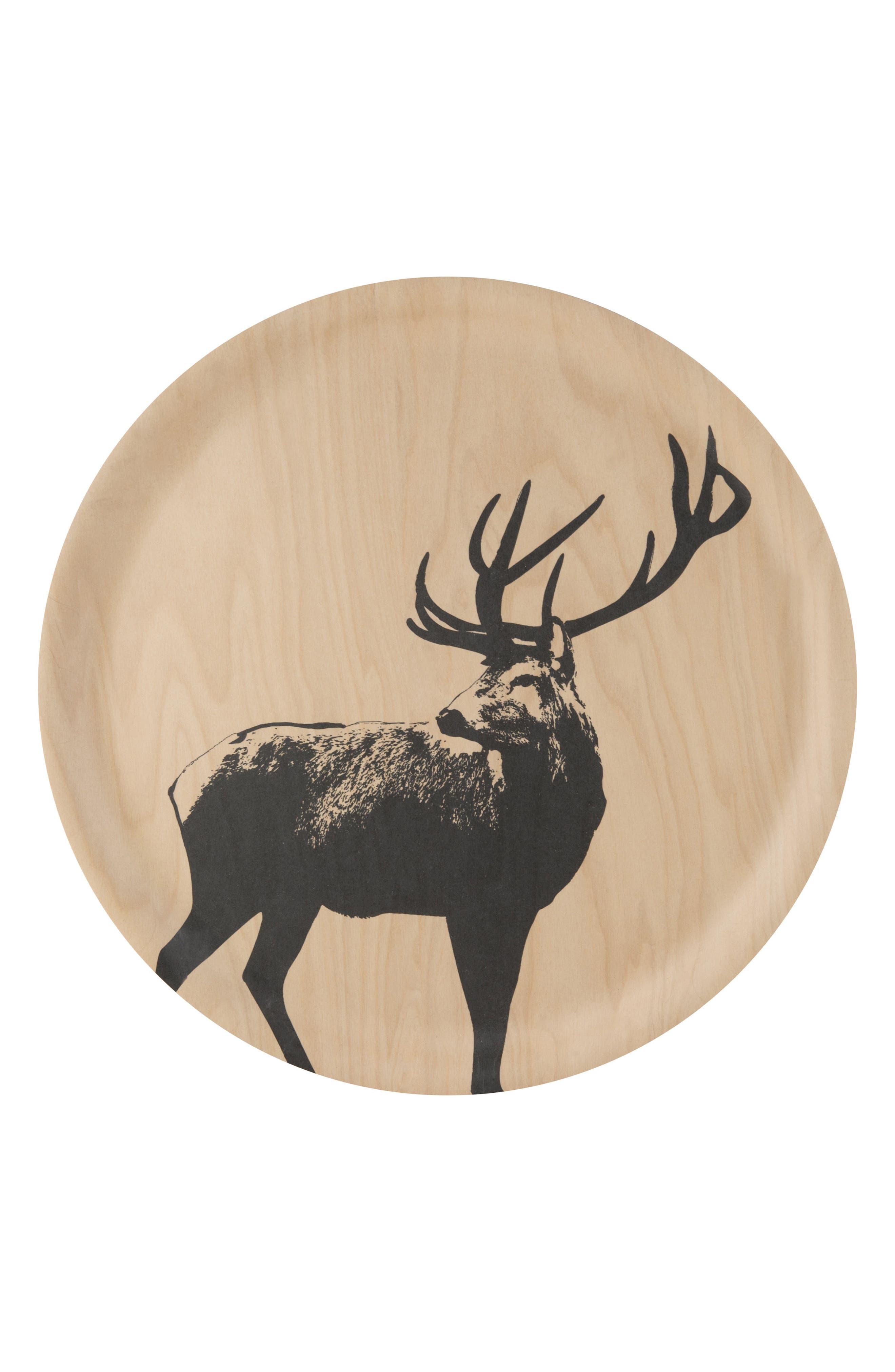 Deer Birch & Melamine Serving Tray,                             Main thumbnail 1, color,                             Beige