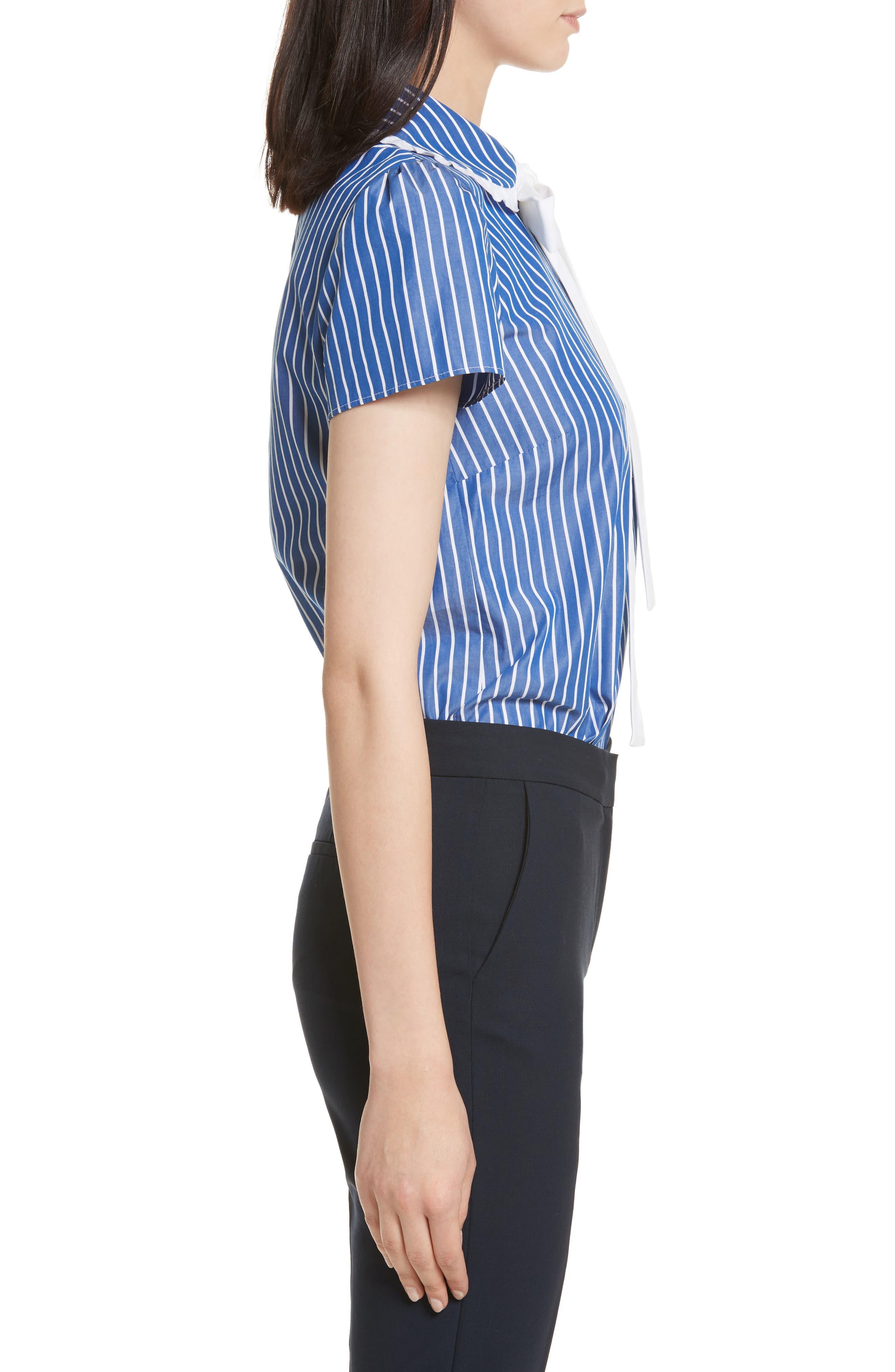 Tie Neck Stripe Cotton Poplin Top,                             Alternate thumbnail 3, color,                             Navy