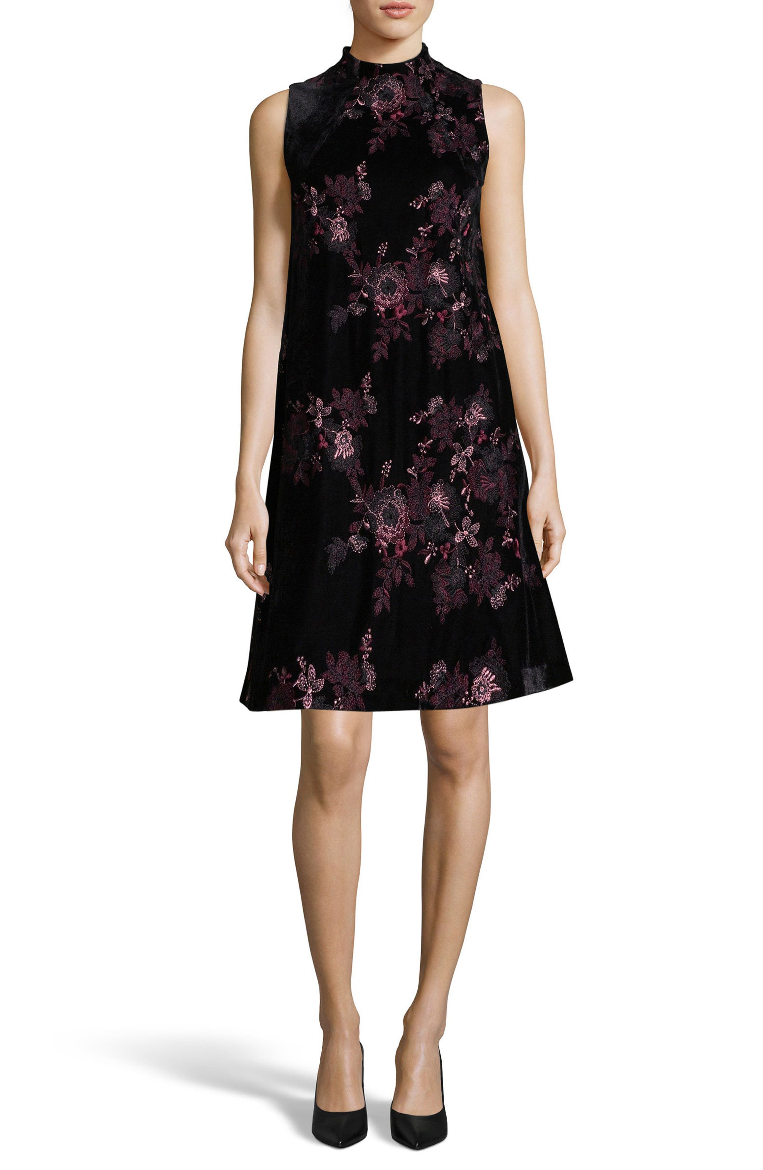 Embroidered Velvet Shift Dress,                             Main thumbnail 1, color,                             Black/ White