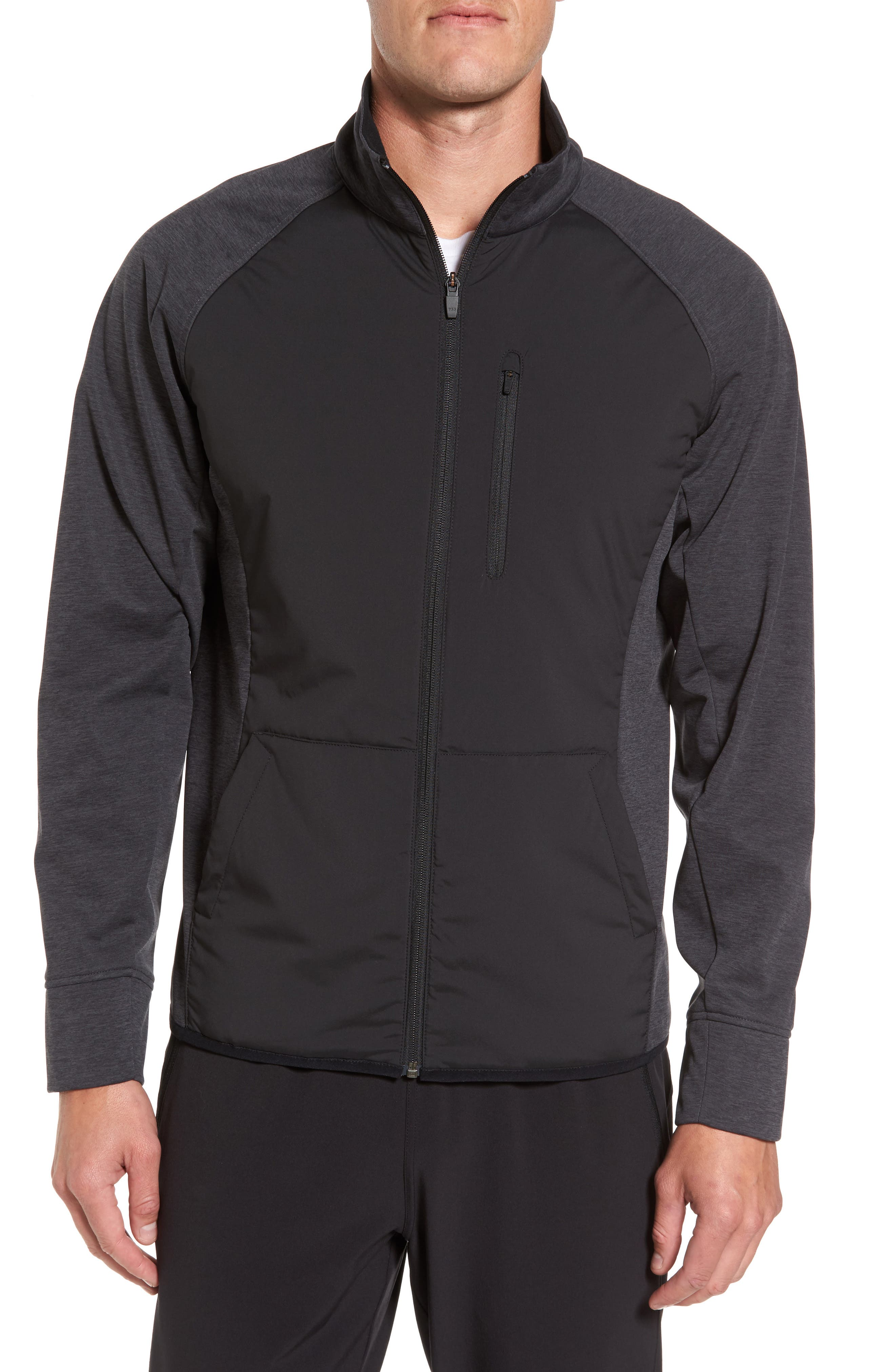 Zelfusion Tech Track Jacket,                         Main,                         color, Black Oxide Heather