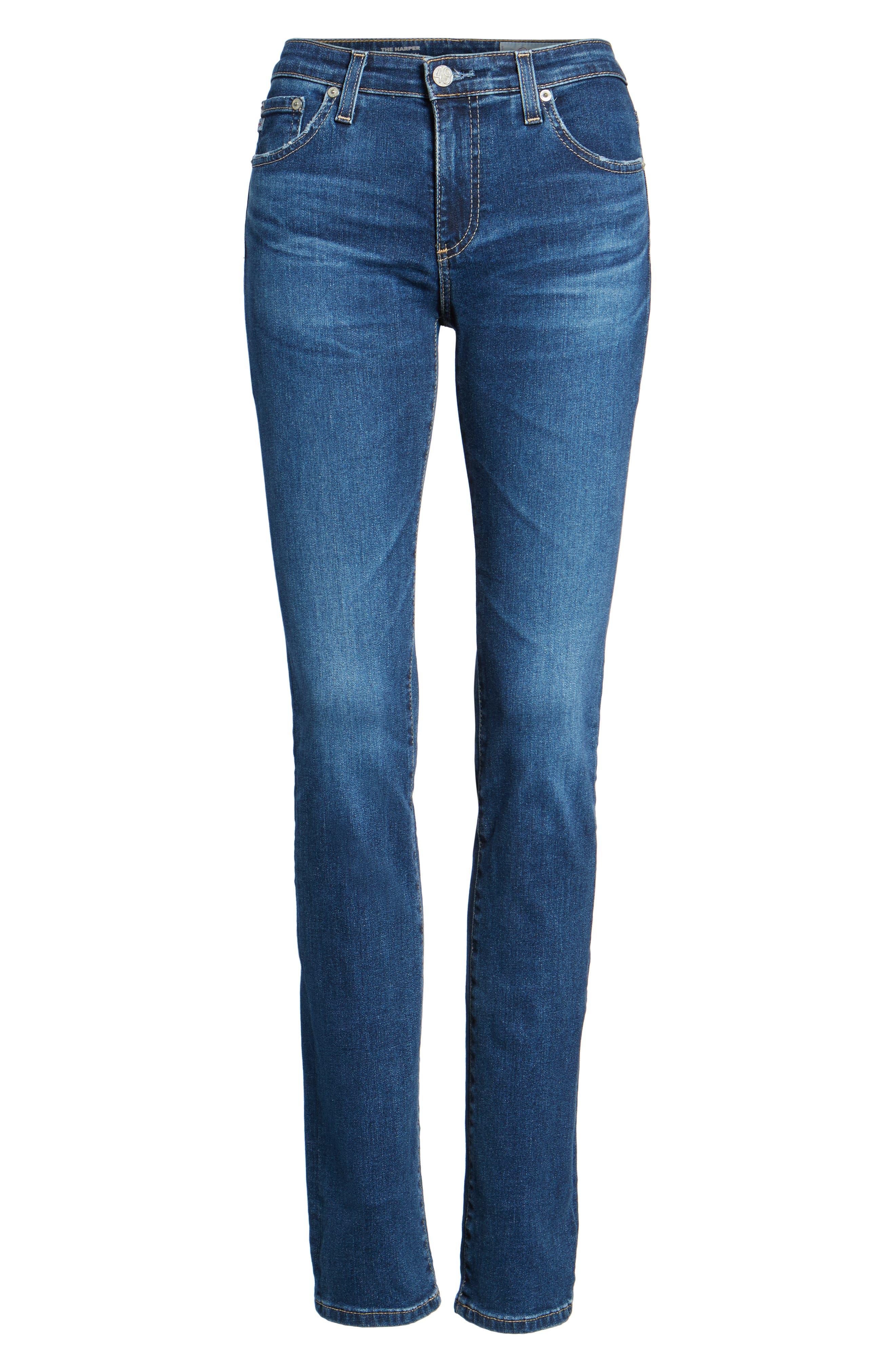 Harper Slim Straight Leg Jeans,                             Alternate thumbnail 7, color,                             8 Years Blue Portrait
