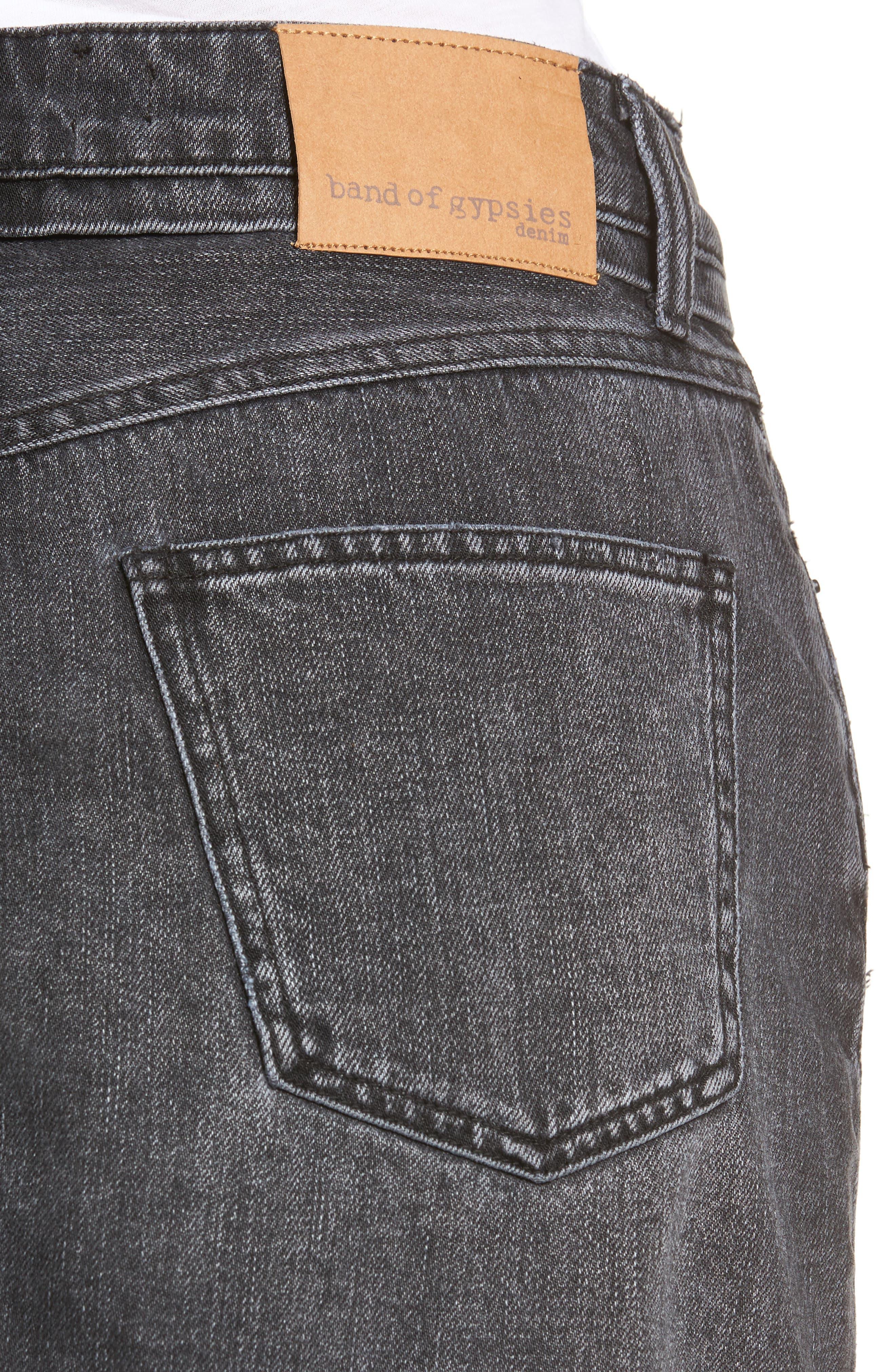 Eve Step Hem Denim Miniskirt,                             Alternate thumbnail 4, color,                             Beat Fest Black