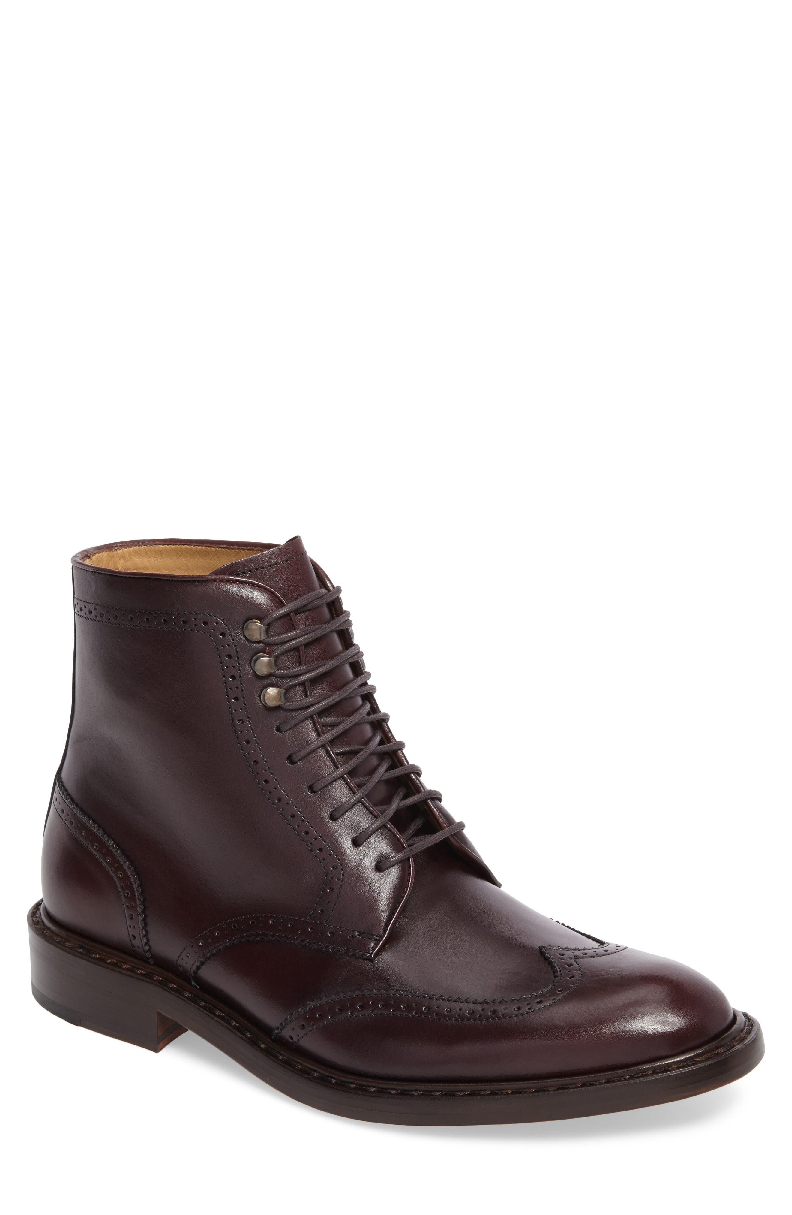 Carter Wingtip Boot,                             Main thumbnail 1, color,                             Burgundy Leather
