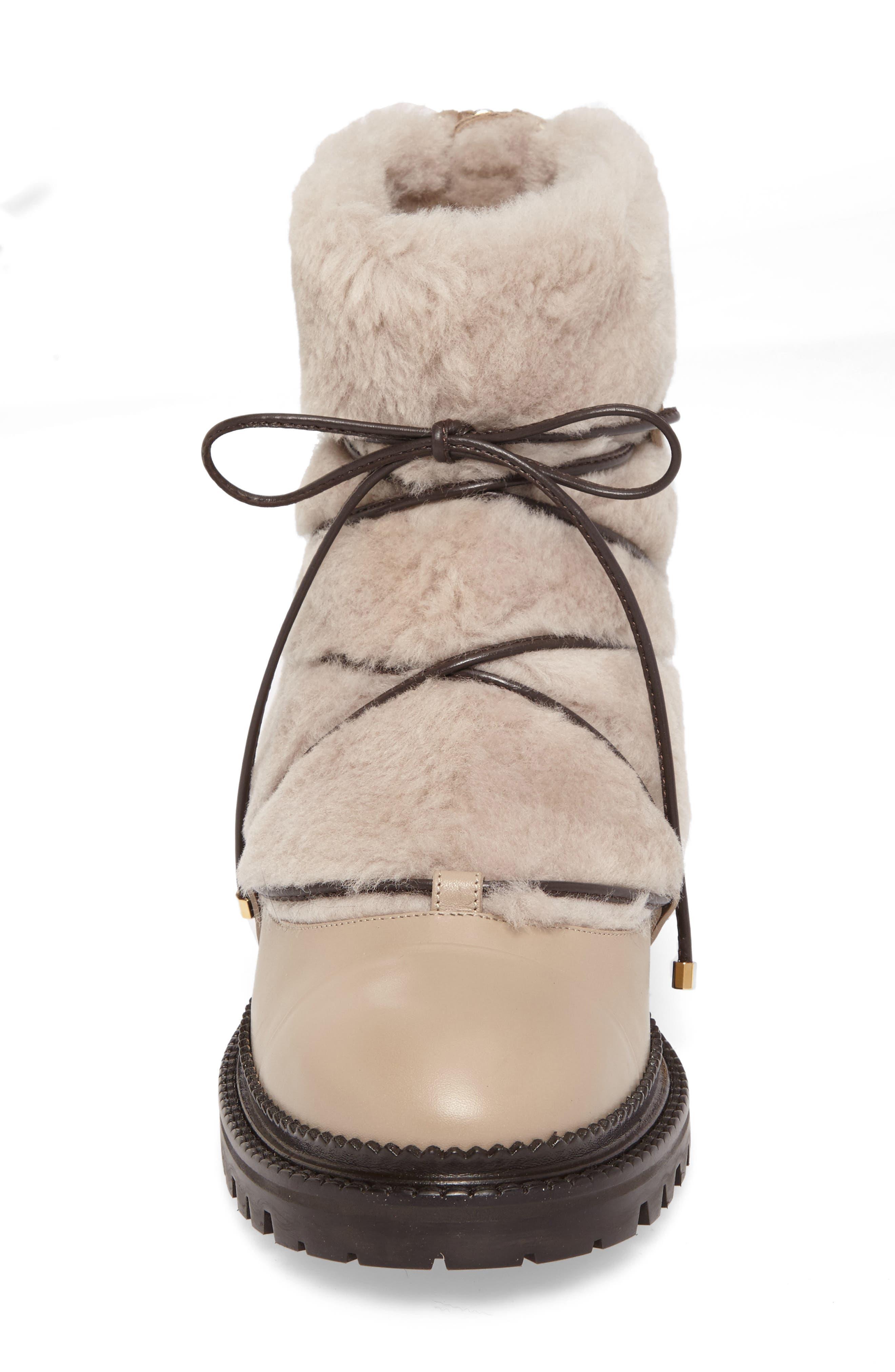 Darcie Genuine Shearling Boot,                             Alternate thumbnail 4, color,                             Chai