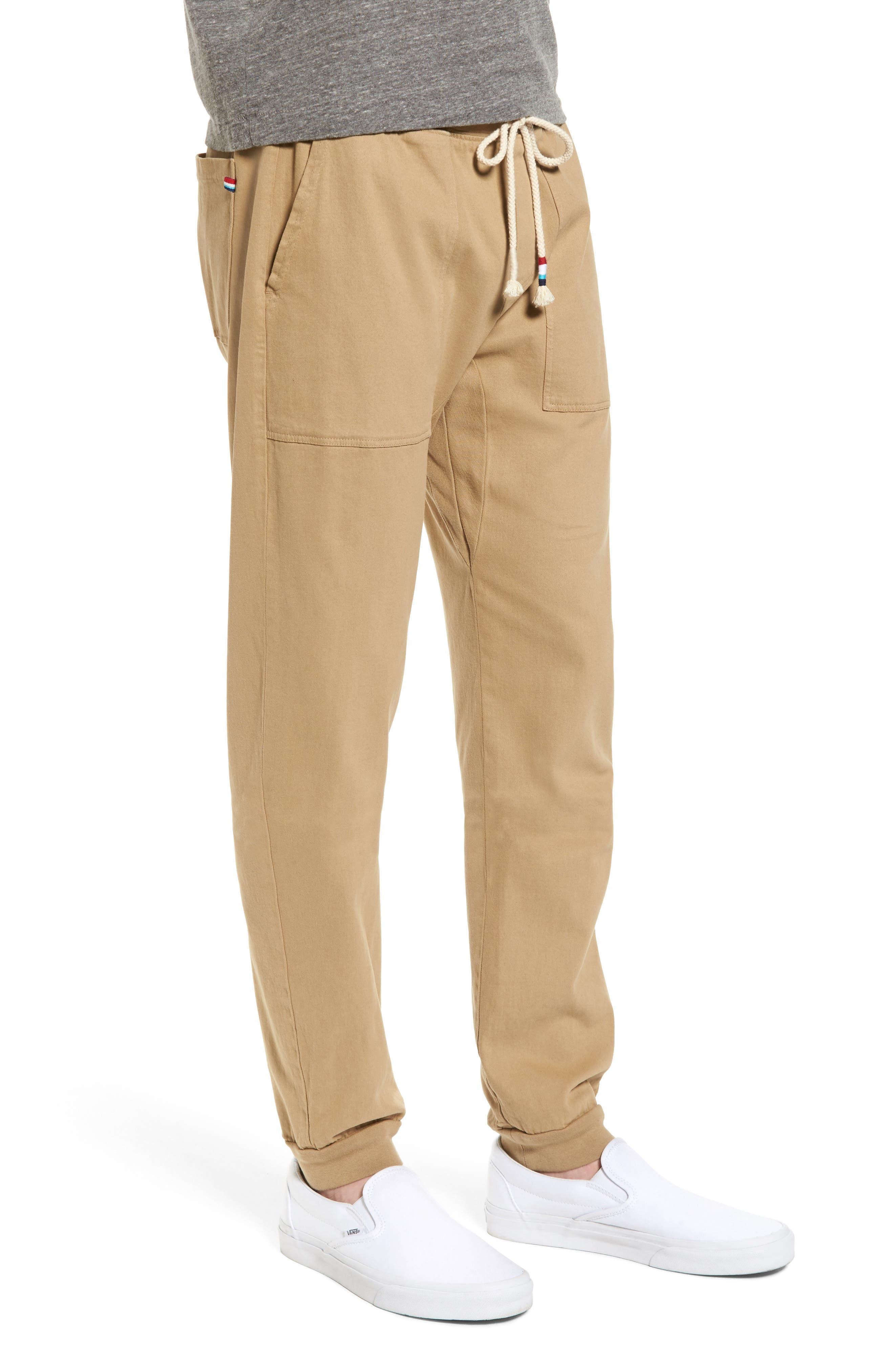 Essential Twill Jogger Pants,                             Alternate thumbnail 3, color,                             Khaki
