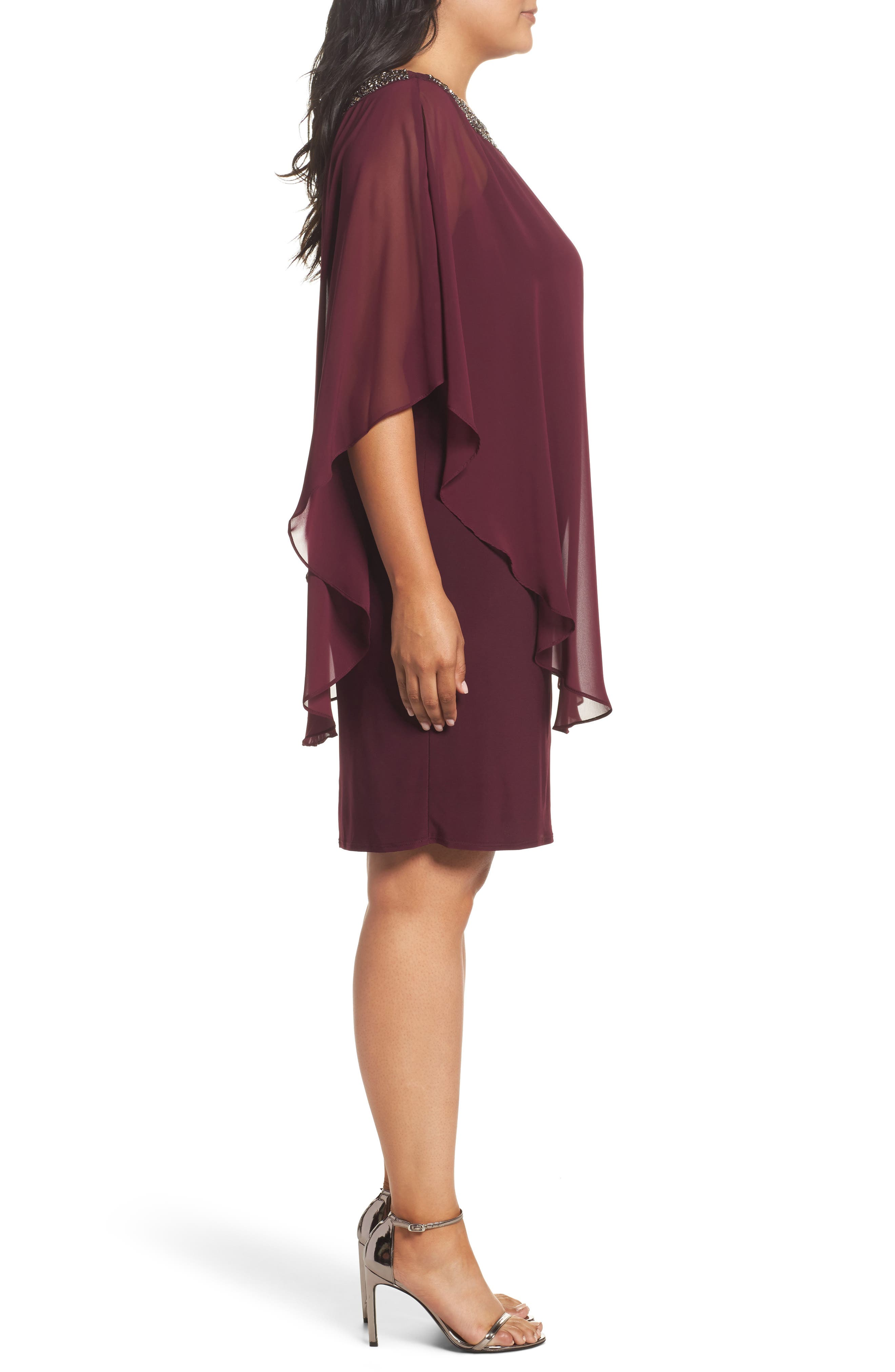 Alternate Image 3  - Xscape Embellished Chiffon Overlay Jersey Sheath Dress (Plus Size)