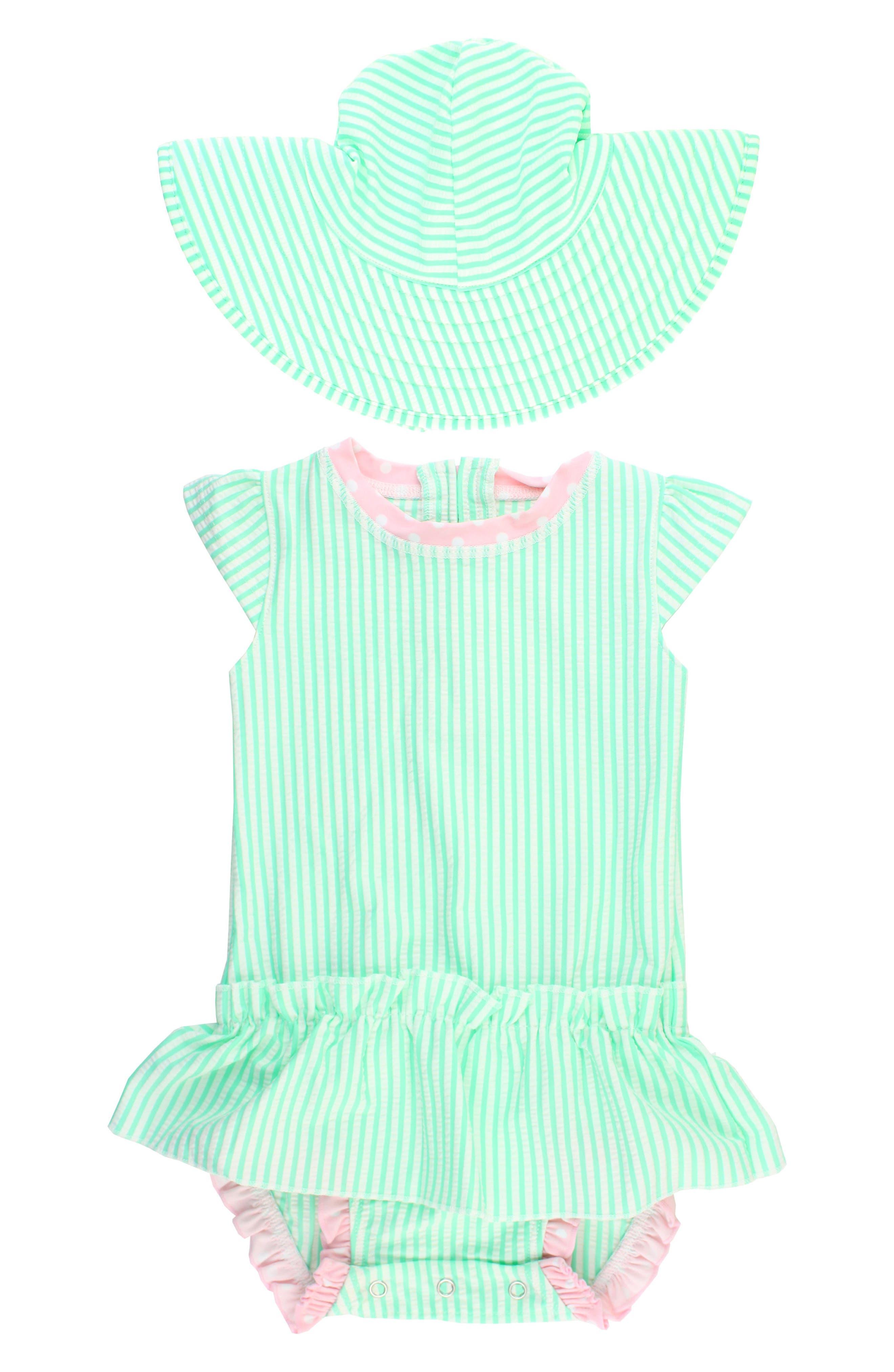 Ruffle Butts One-Piece Swimsuit & Hat Set,                             Main thumbnail 1, color,                             Mint
