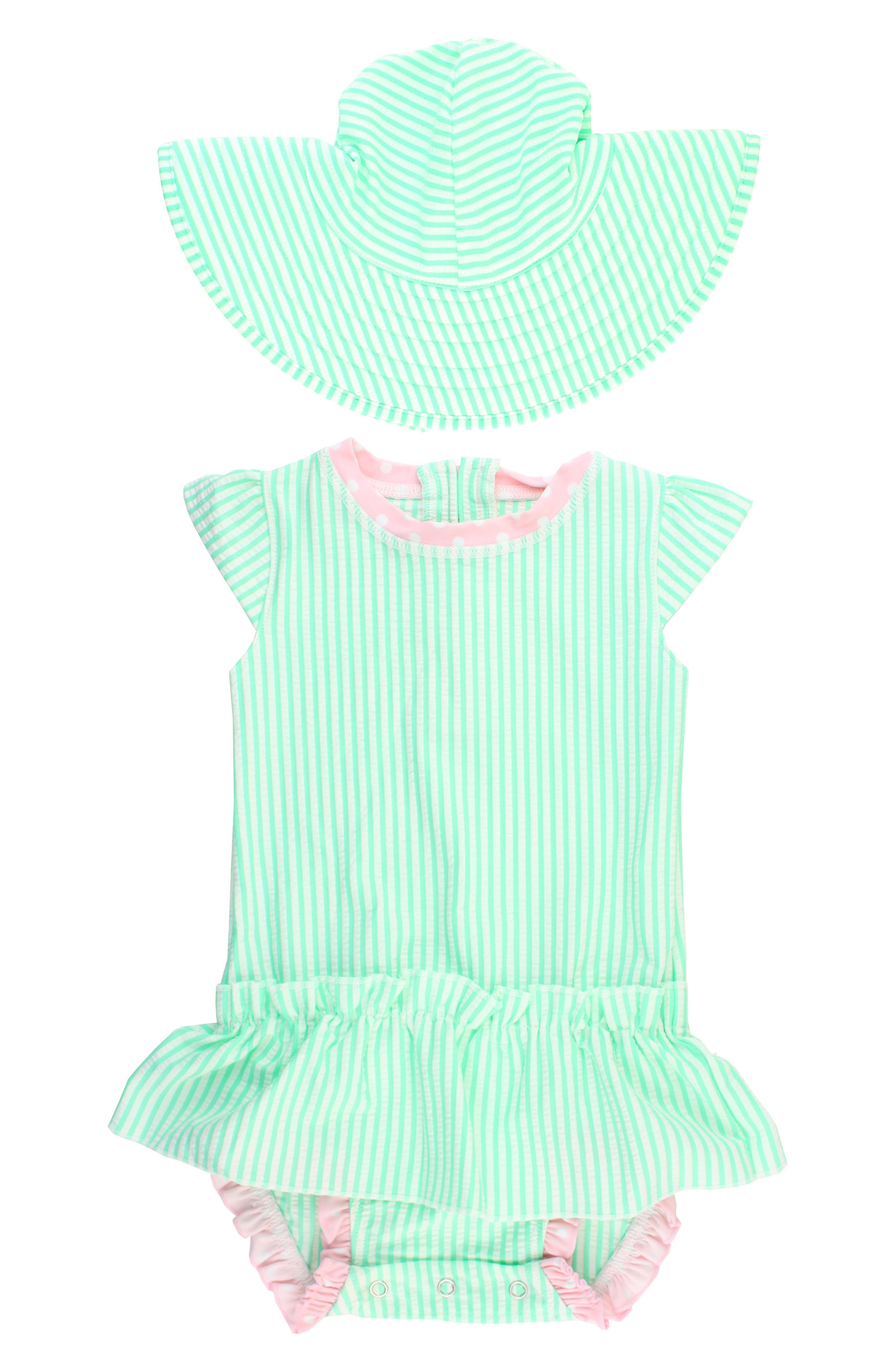 Ruffle Butts One-Piece Swimsuit & Hat Set (Baby Girls)