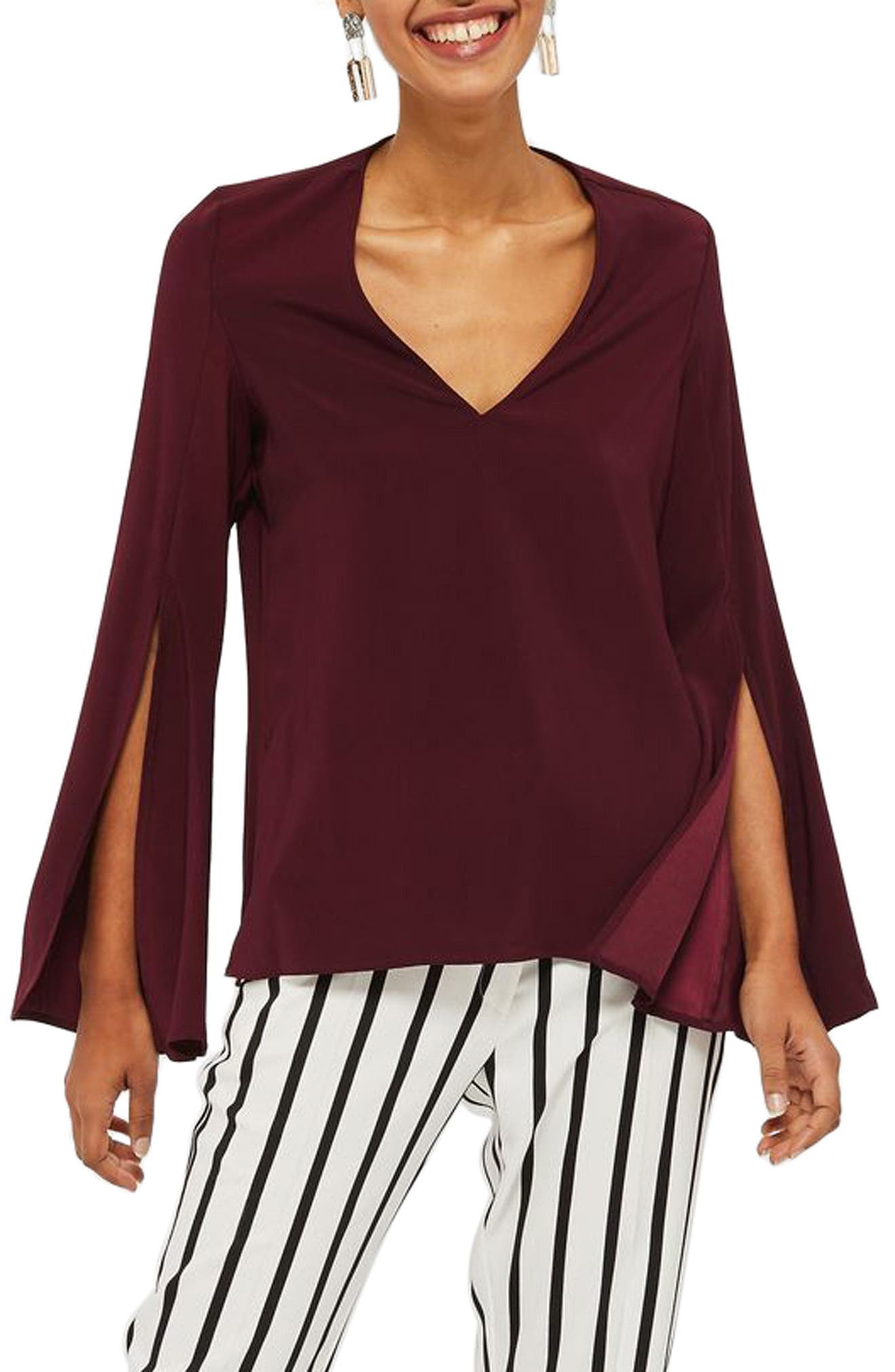 Topshop Split Sleeve V-Neck Tunic