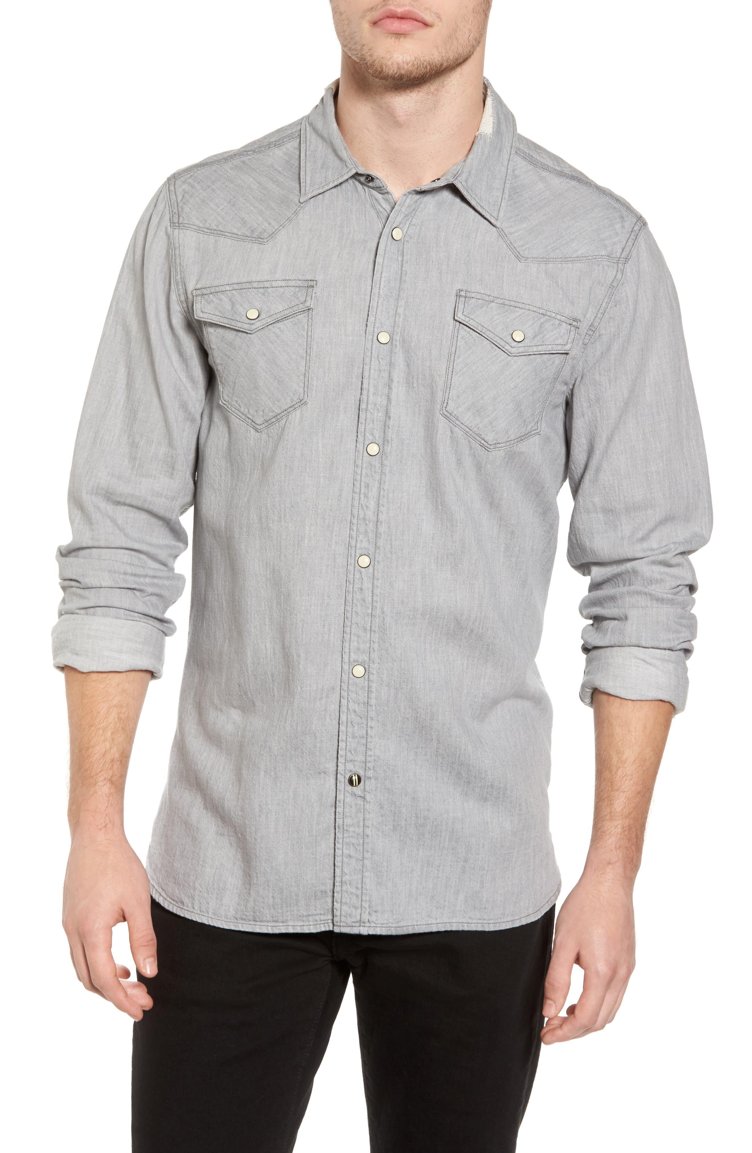 Classic Western Shirt,                         Main,                         color, Grey