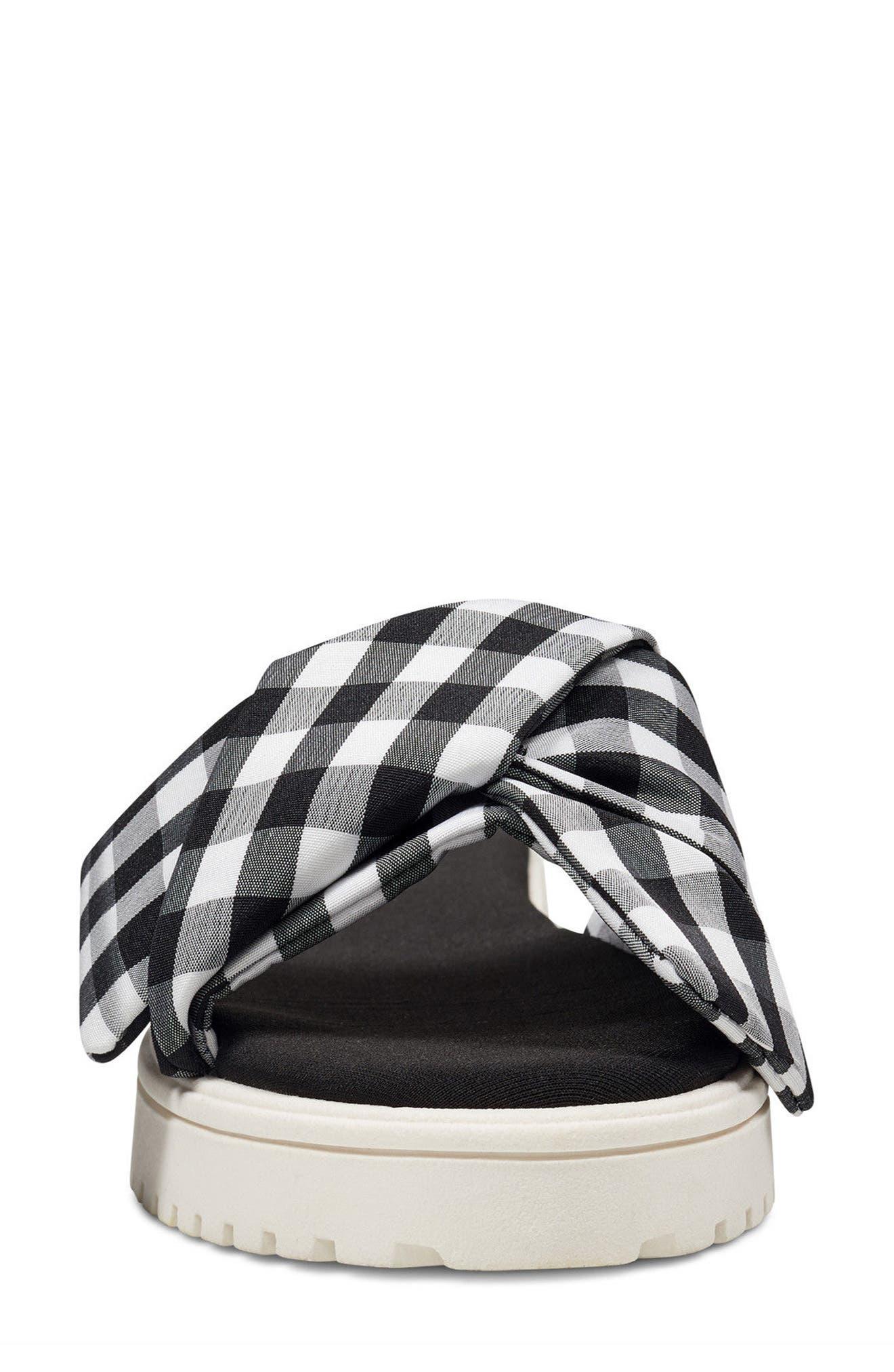 Ruth Slide Sandal,                             Alternate thumbnail 4, color,                             Black/ White Fabric