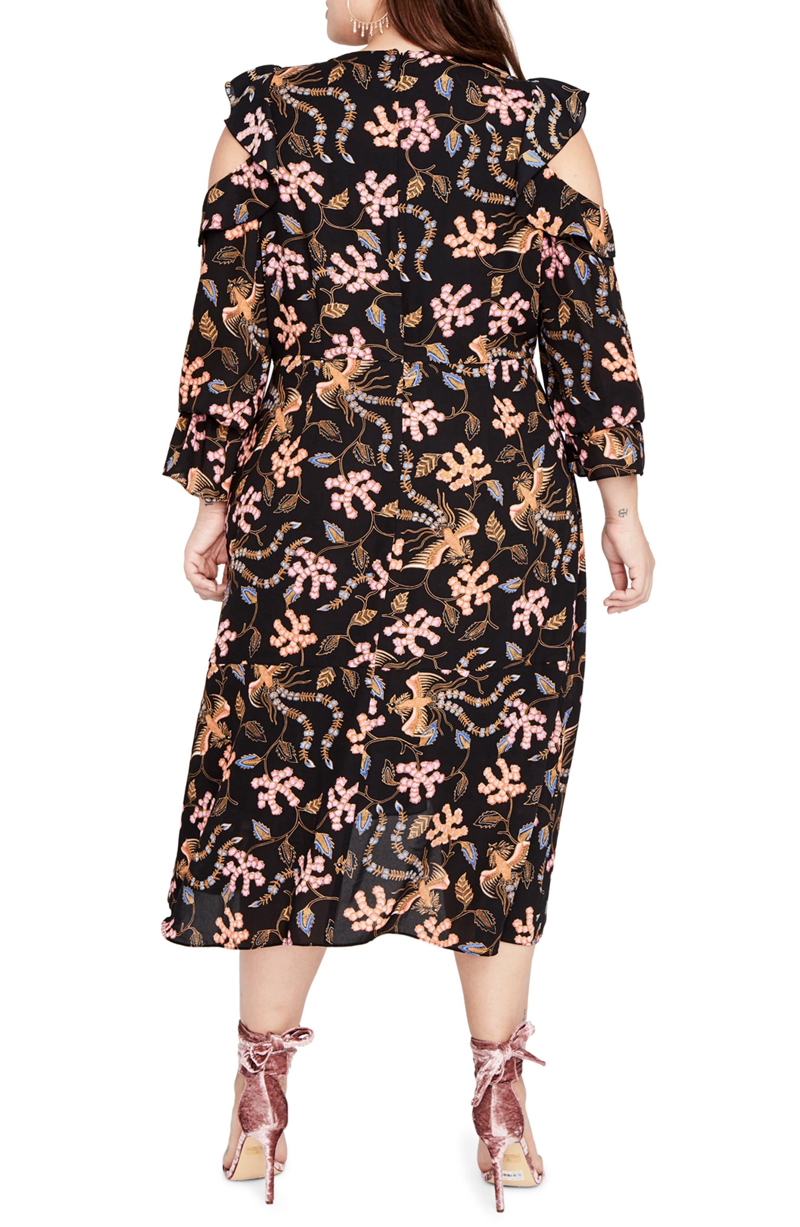 RACHEL BY Rachel Roy Cold Shoulder Ruffle Midi Dress,                             Alternate thumbnail 2, color,                             Black Multi