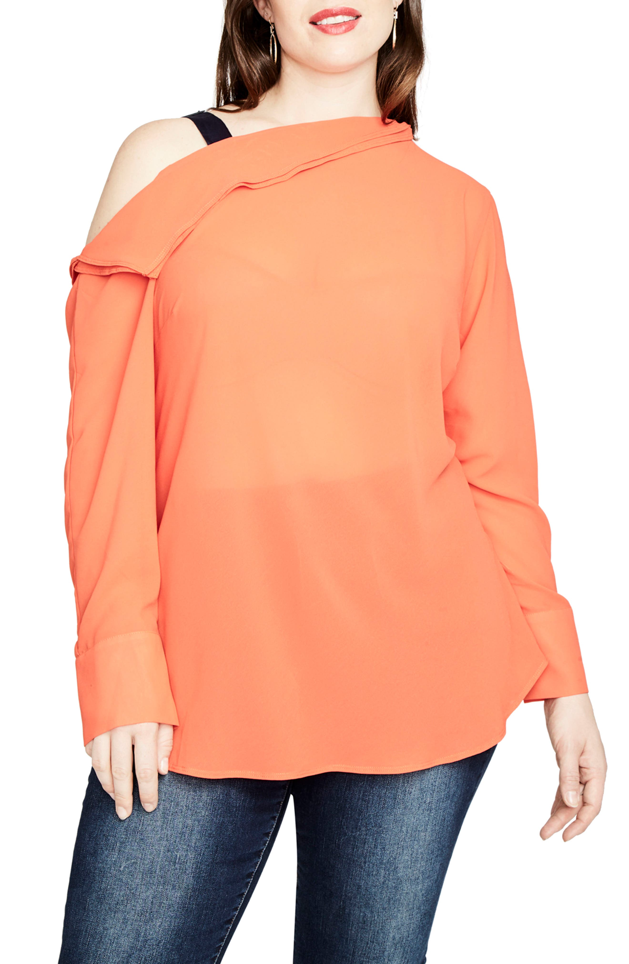 One-Shoulder Top,                         Main,                         color, Tangerine