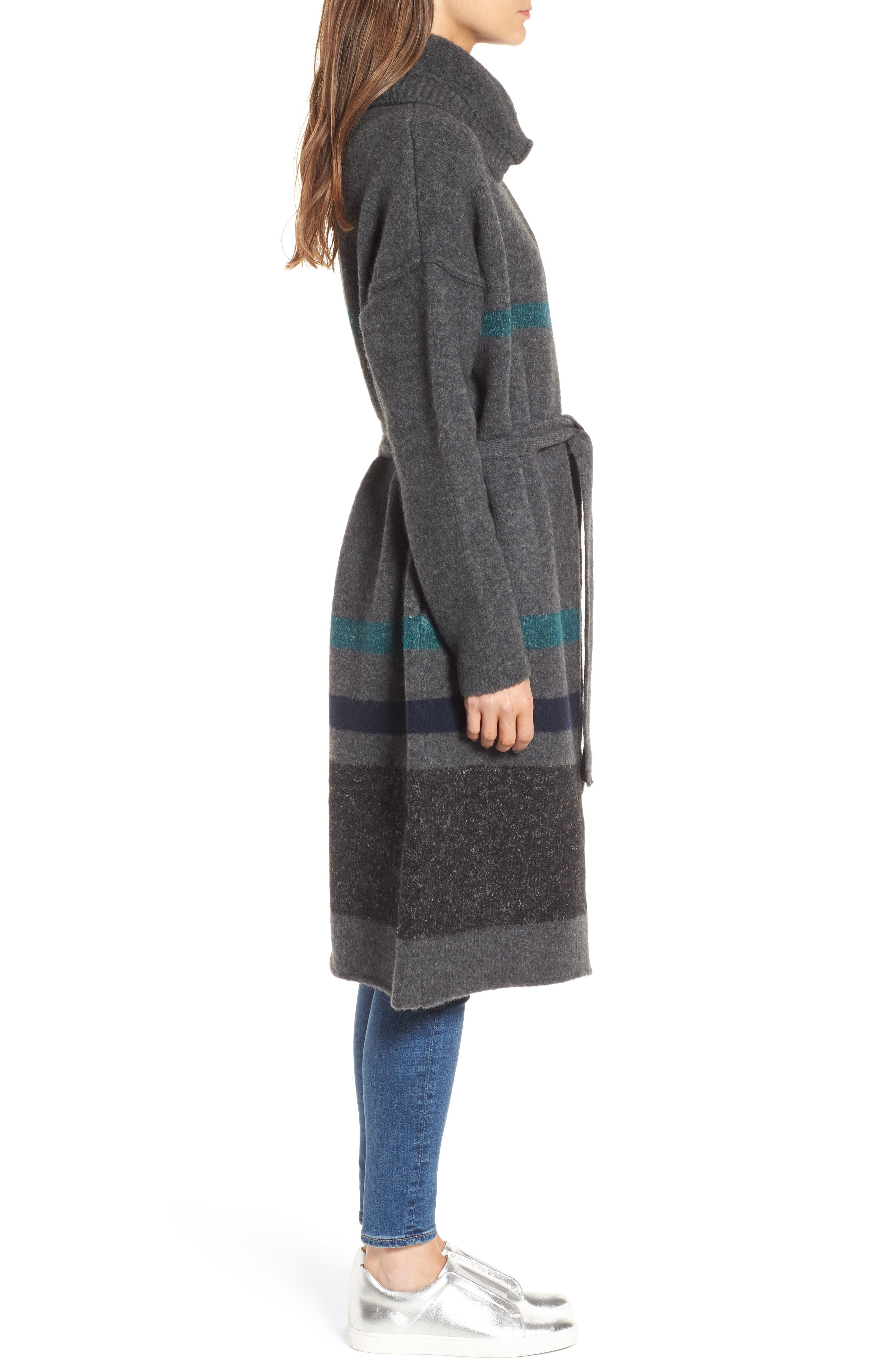 Belted Blanket Stripe Coat,                             Alternate thumbnail 3, color,                             Ash/ Val/ Imp/ Ant