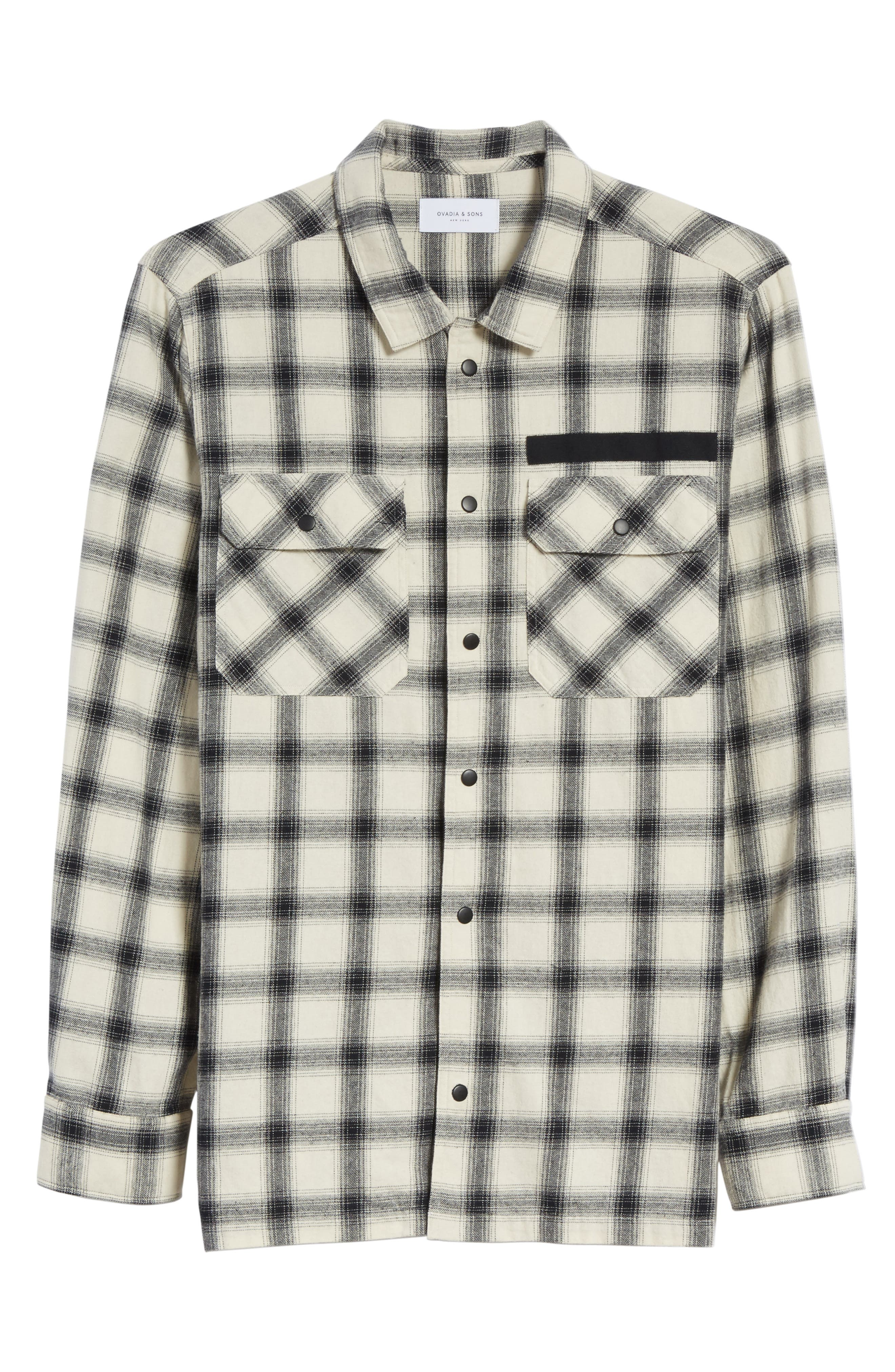 Oversize Plaid Military Shirt,                             Alternate thumbnail 6, color,                             White/ Black