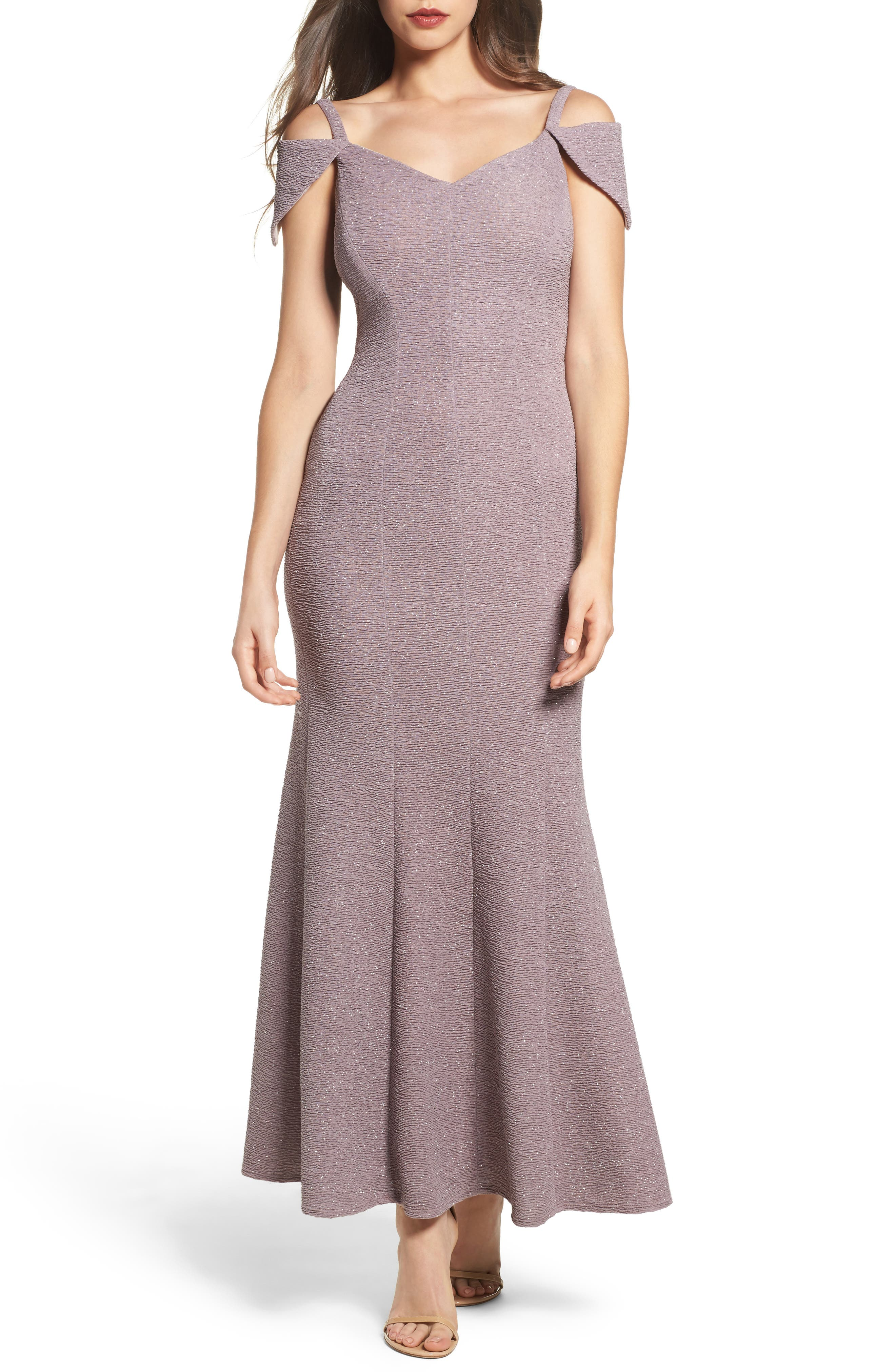 Main Image - Morgan & Co. Glitter Cold Shoulder Mermaid Gown