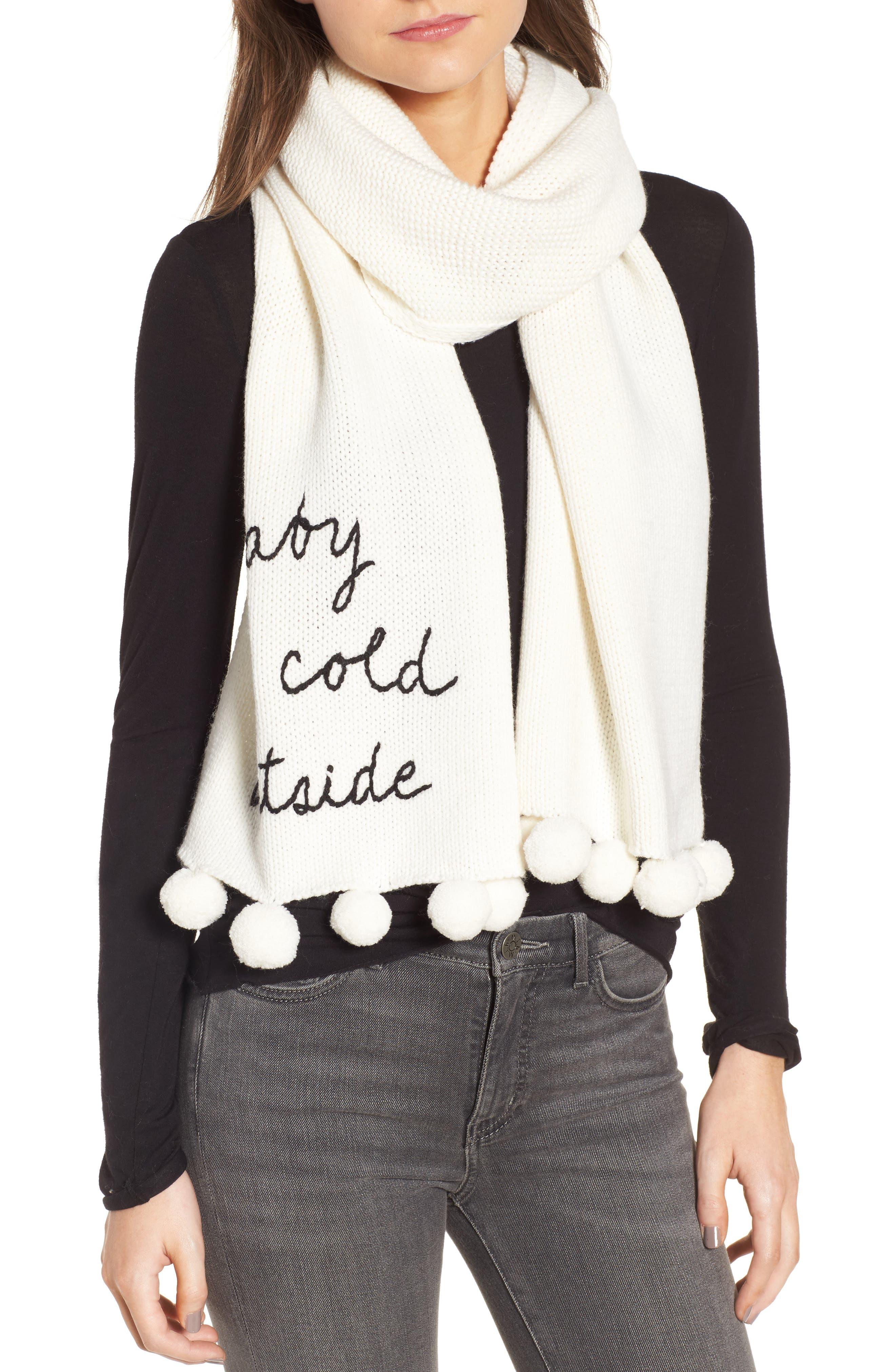 baby it's cold outside pom muffler,                         Main,                         color, Cream/ Black