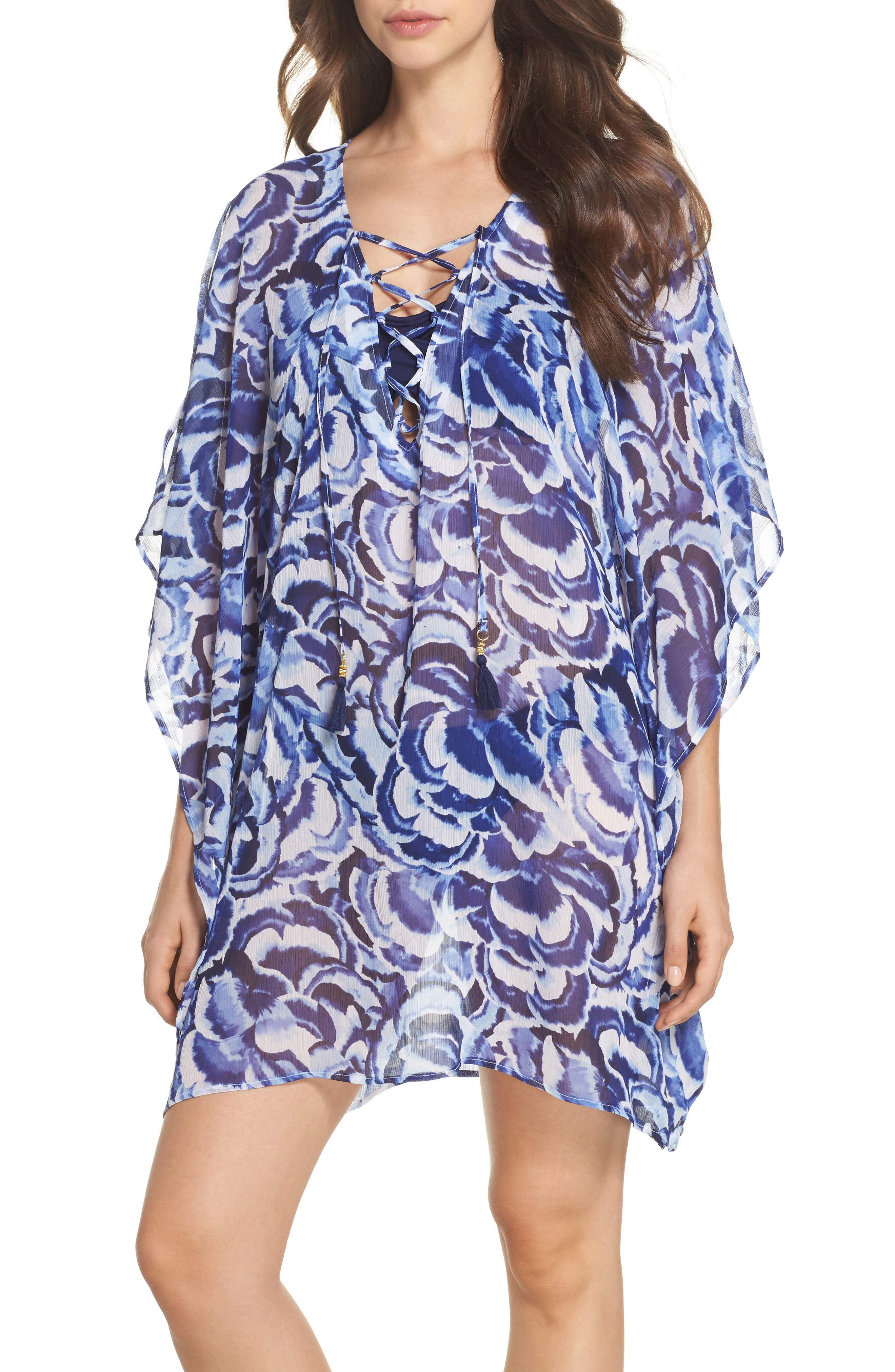 Pansy Petals Tunic Cover Up,                         Main,                         color, White