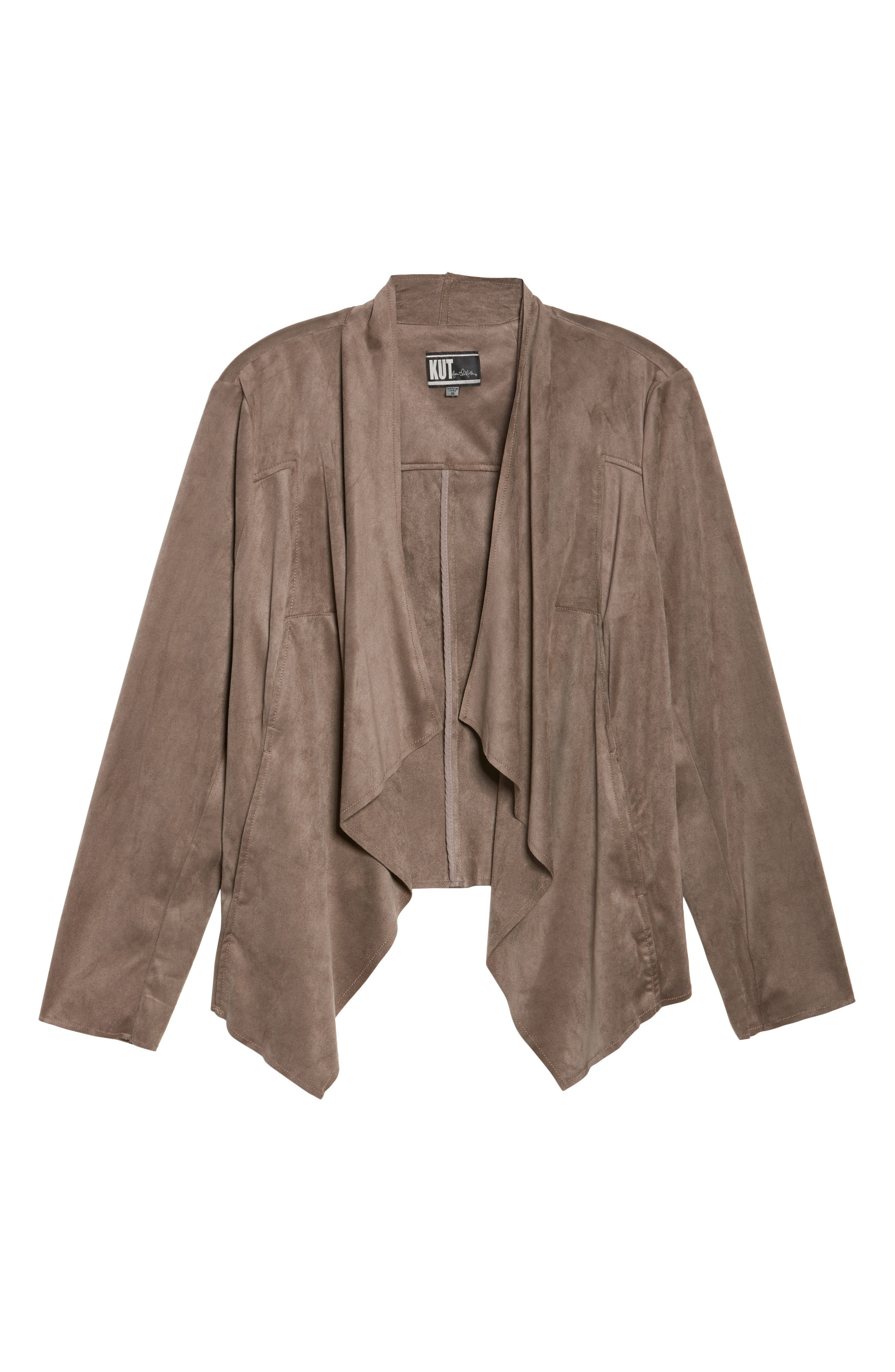 Alternate Image 6  - KUT from the Kloth Drape Front Faux Suede Jacket (Plus Size)