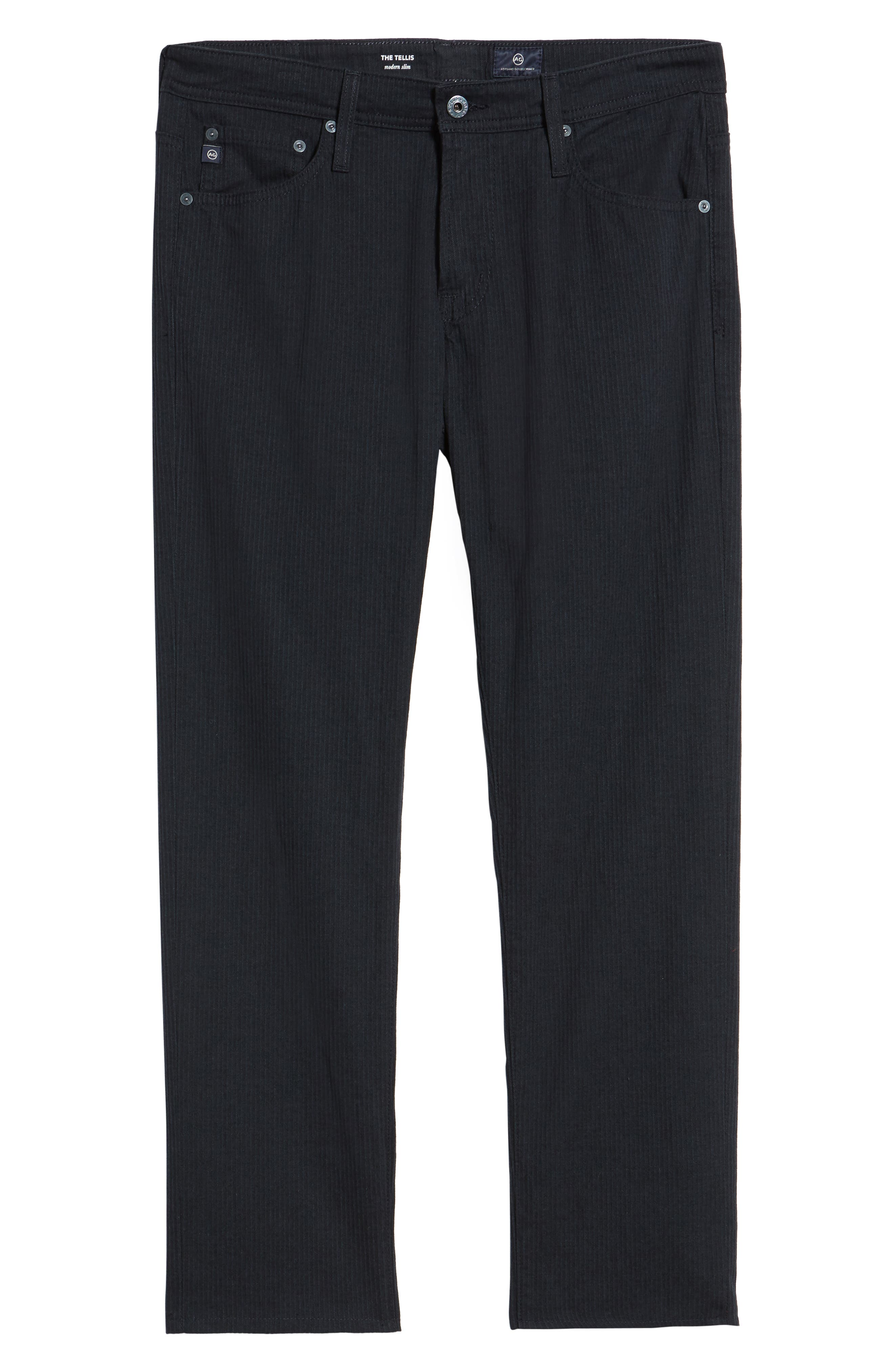 Tellis Modern Slim Stripe Five-Pocket Pants,                             Alternate thumbnail 6, color,                             Midnight Shadow