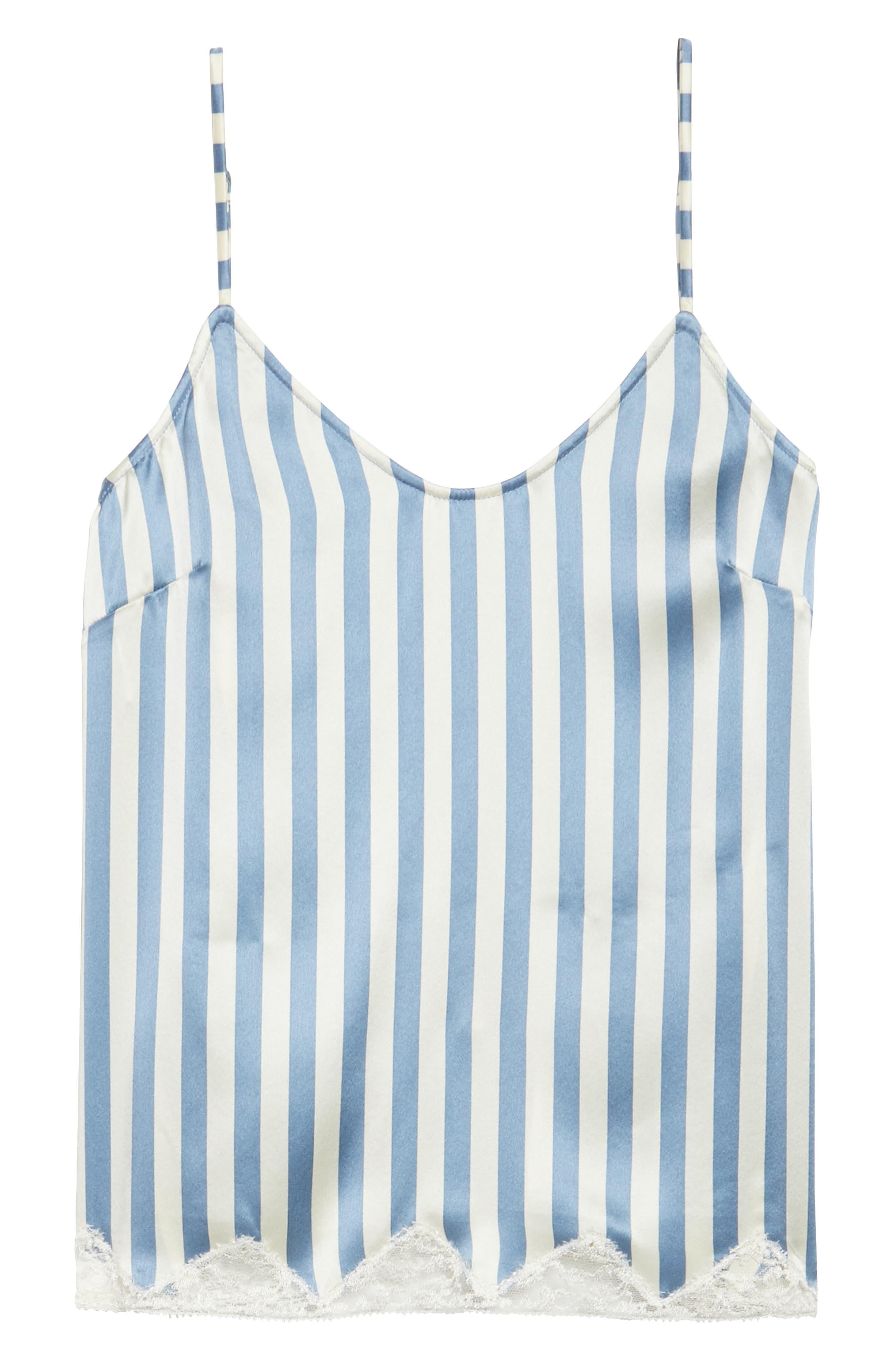 Jac Stripe Silk Camisole,                             Alternate thumbnail 3, color,                             Periwinkle