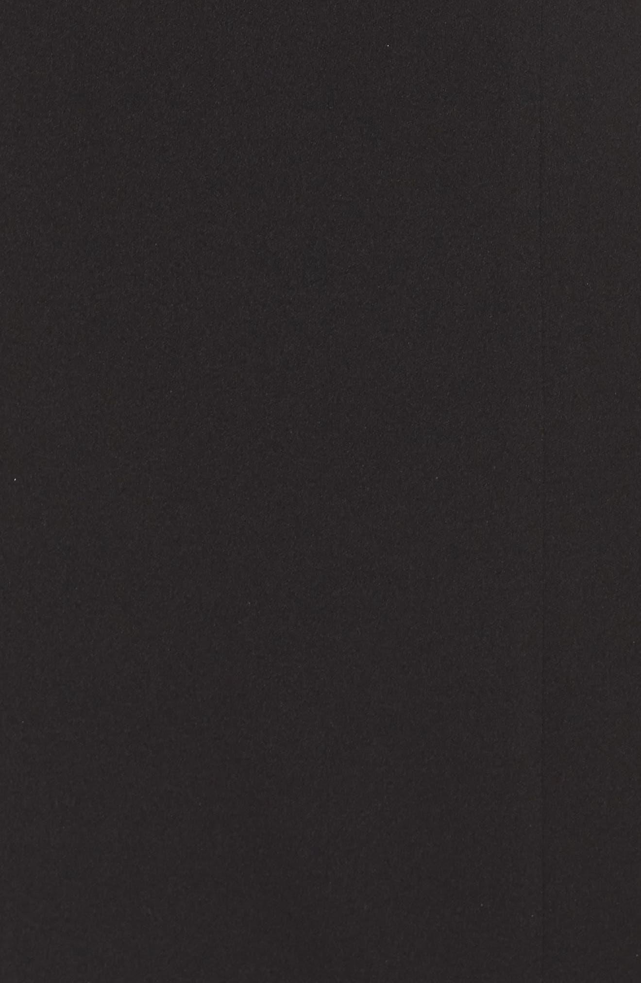 Crepe One-Shoulder Cape Dress,                             Alternate thumbnail 5, color,                             Black/ Ivory