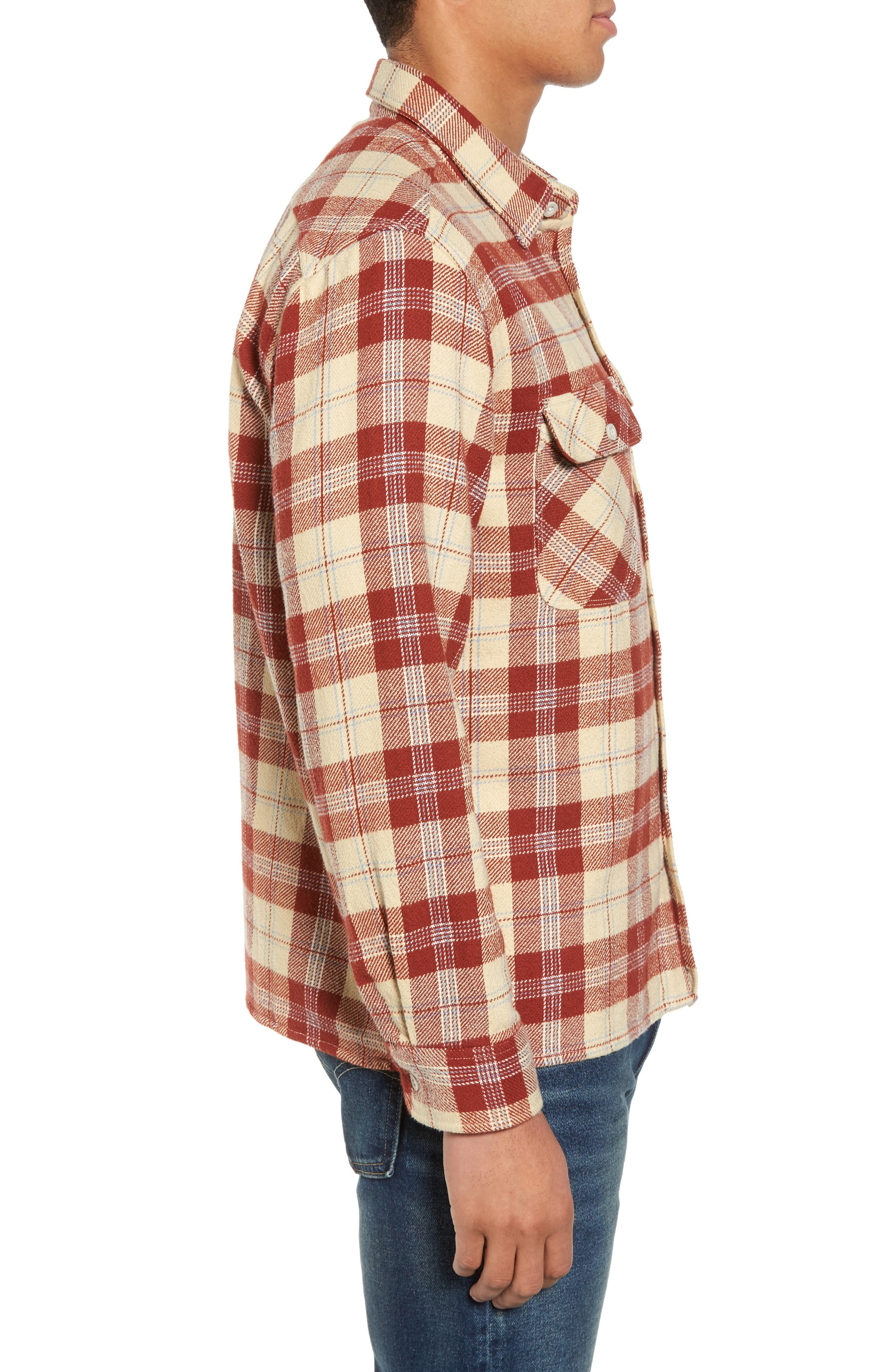 'Archie' Plaid Flannel Shirt,                             Alternate thumbnail 3, color,                             Brick