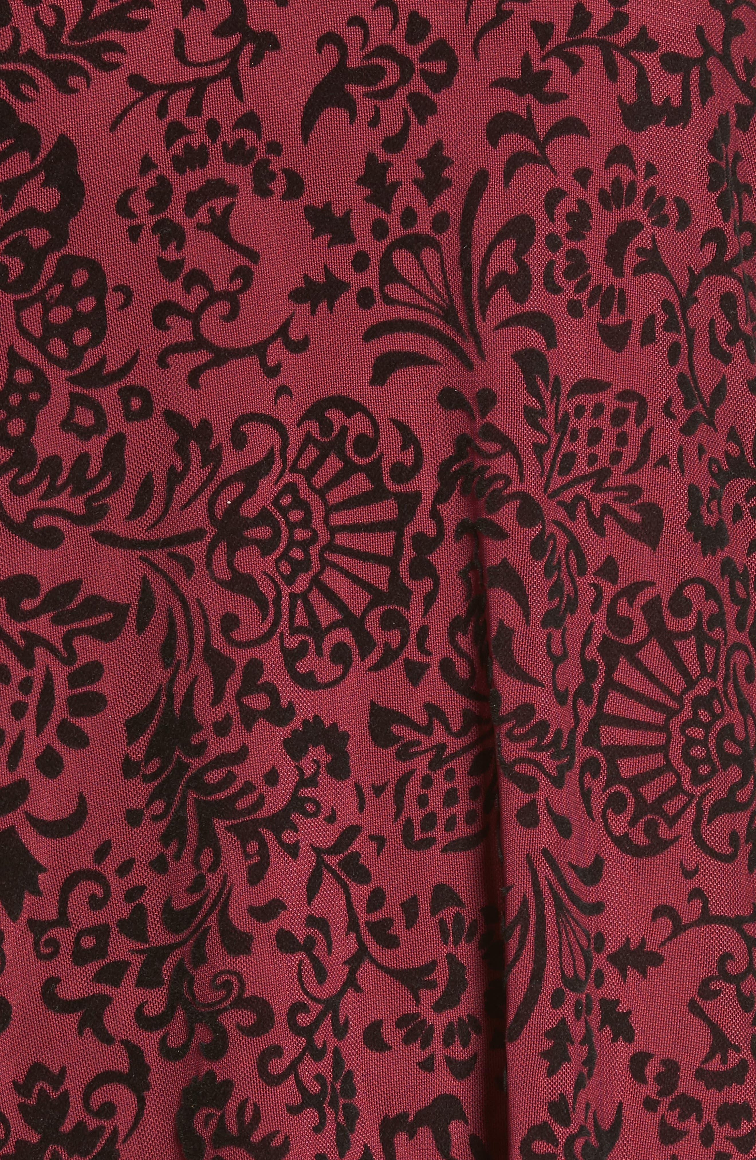 Velvet Detail Minidress,                             Alternate thumbnail 5, color,                             Burgundy/ Black