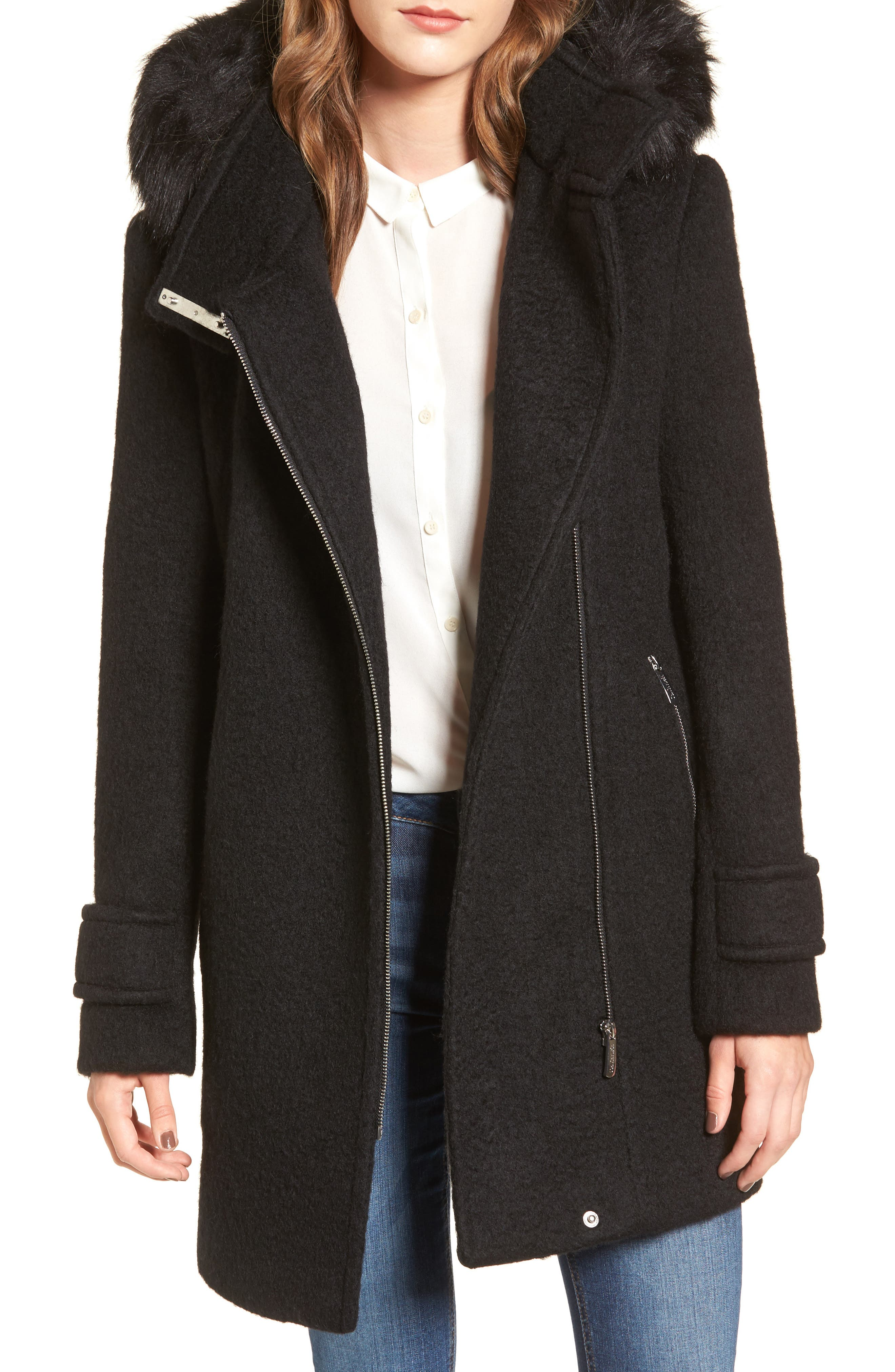 Hooded Wool Blend Jacket with Faux Fur Trim,                         Main,                         color, Black