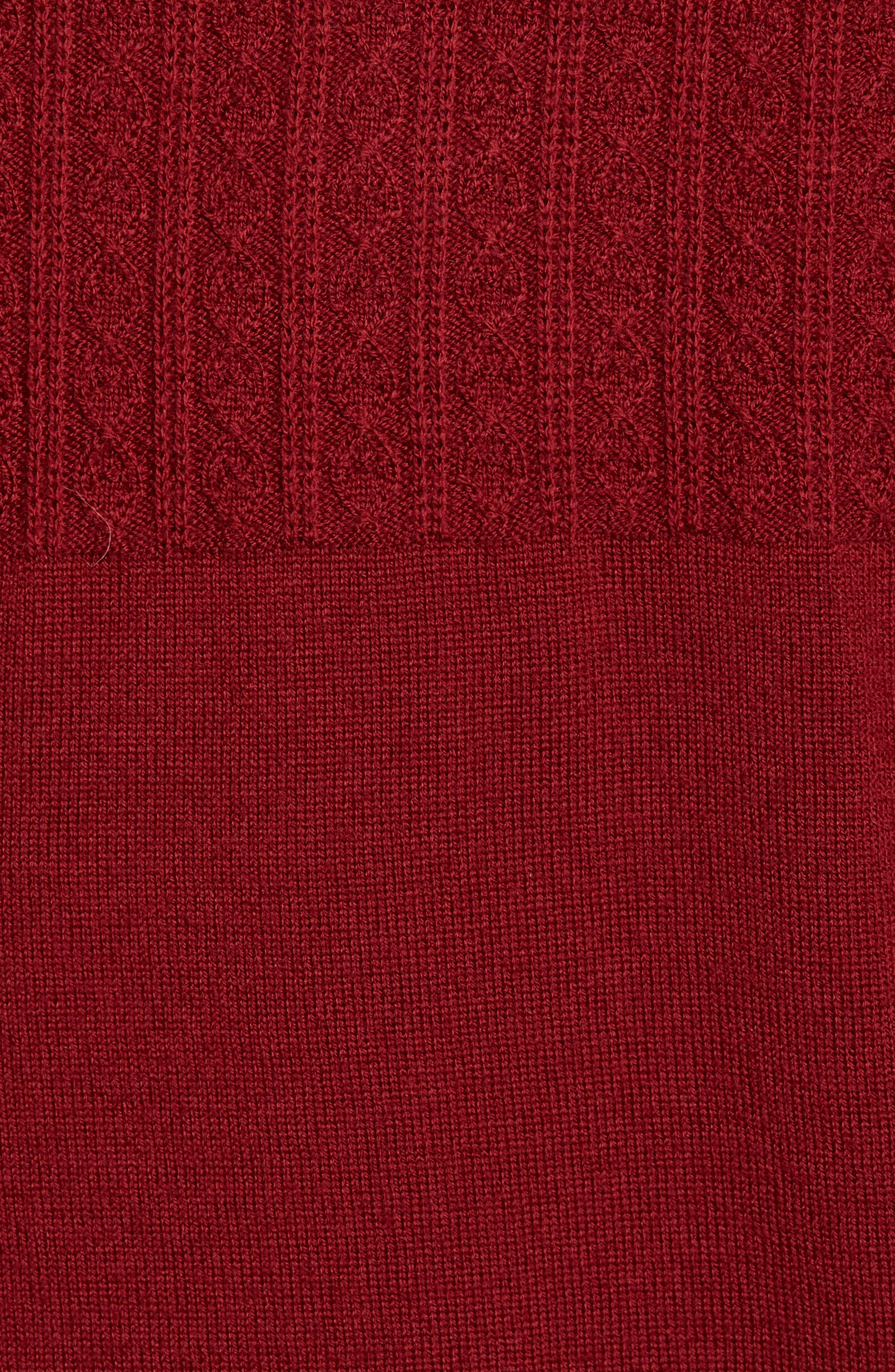 Cable Wind Wool Sweater,                             Alternate thumbnail 5, color,                             Brick Red