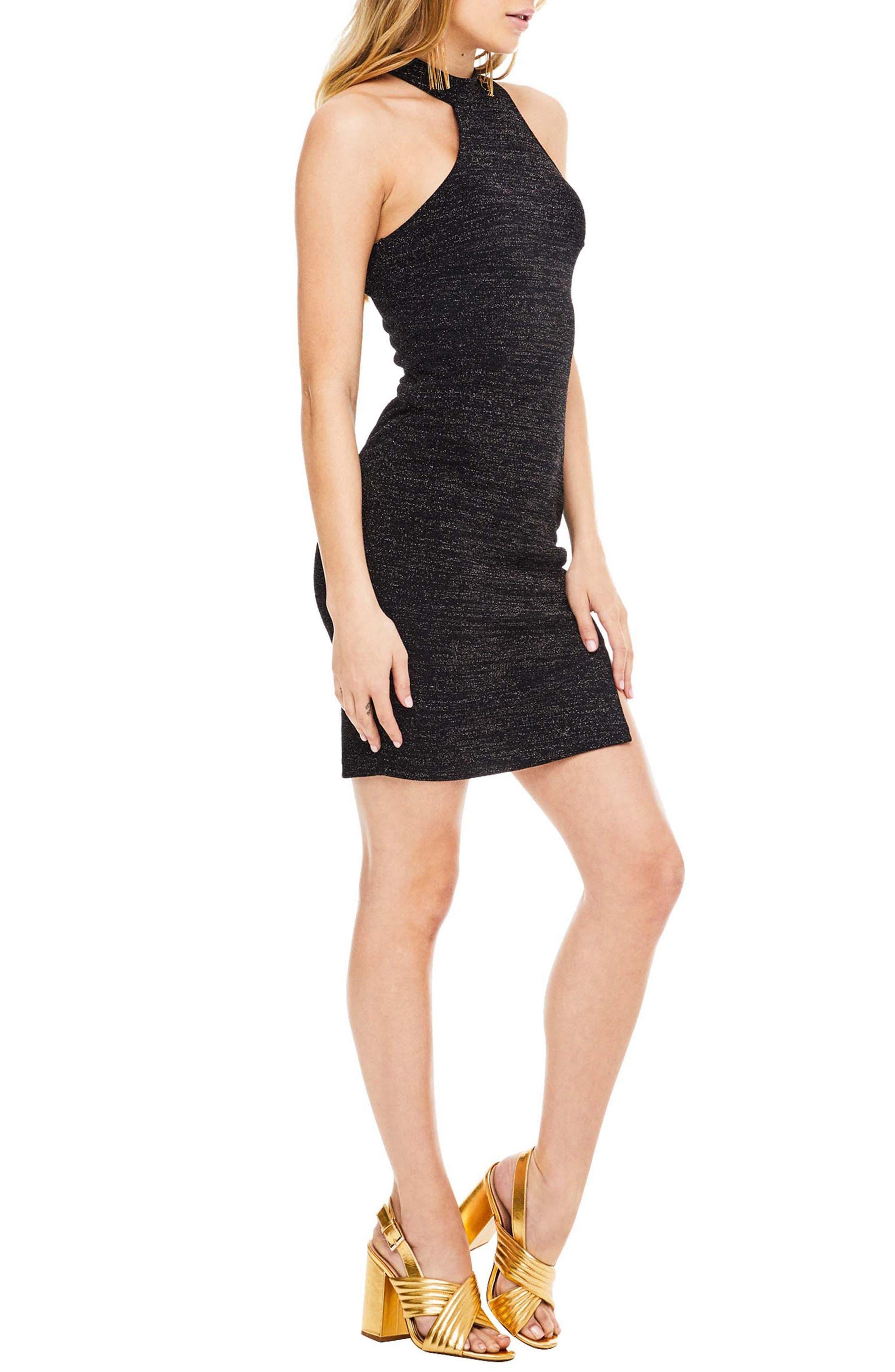 Danika Body-Con Dress,                             Alternate thumbnail 3, color,                             Black Sparkle
