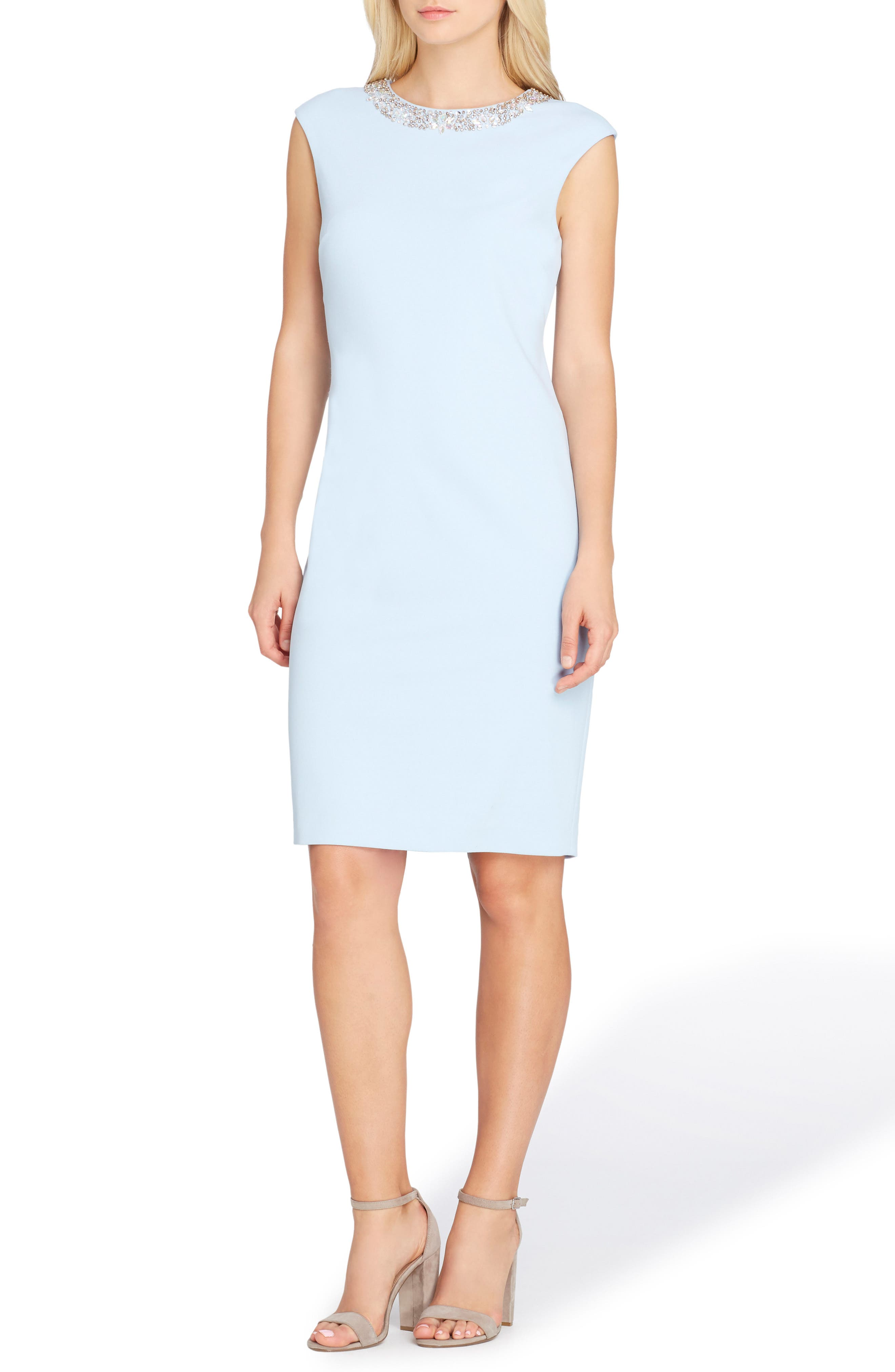 Embellished Sheath Dress,                             Main thumbnail 1, color,                             Crystal Blue
